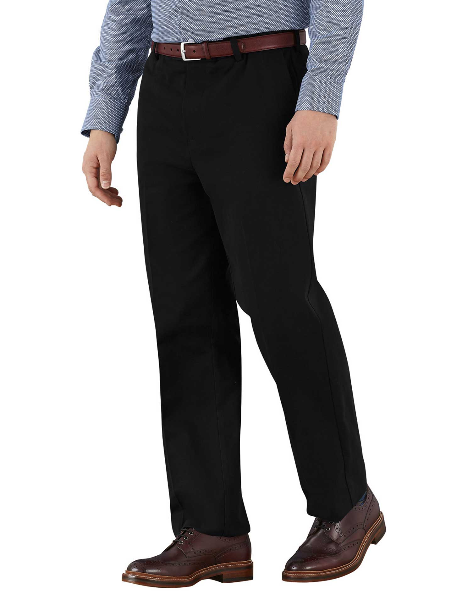Black Classic Fit Flat Front Non-Iron Cotton Chino Trousers Size W36 L38 by Charles Tyrwhitt