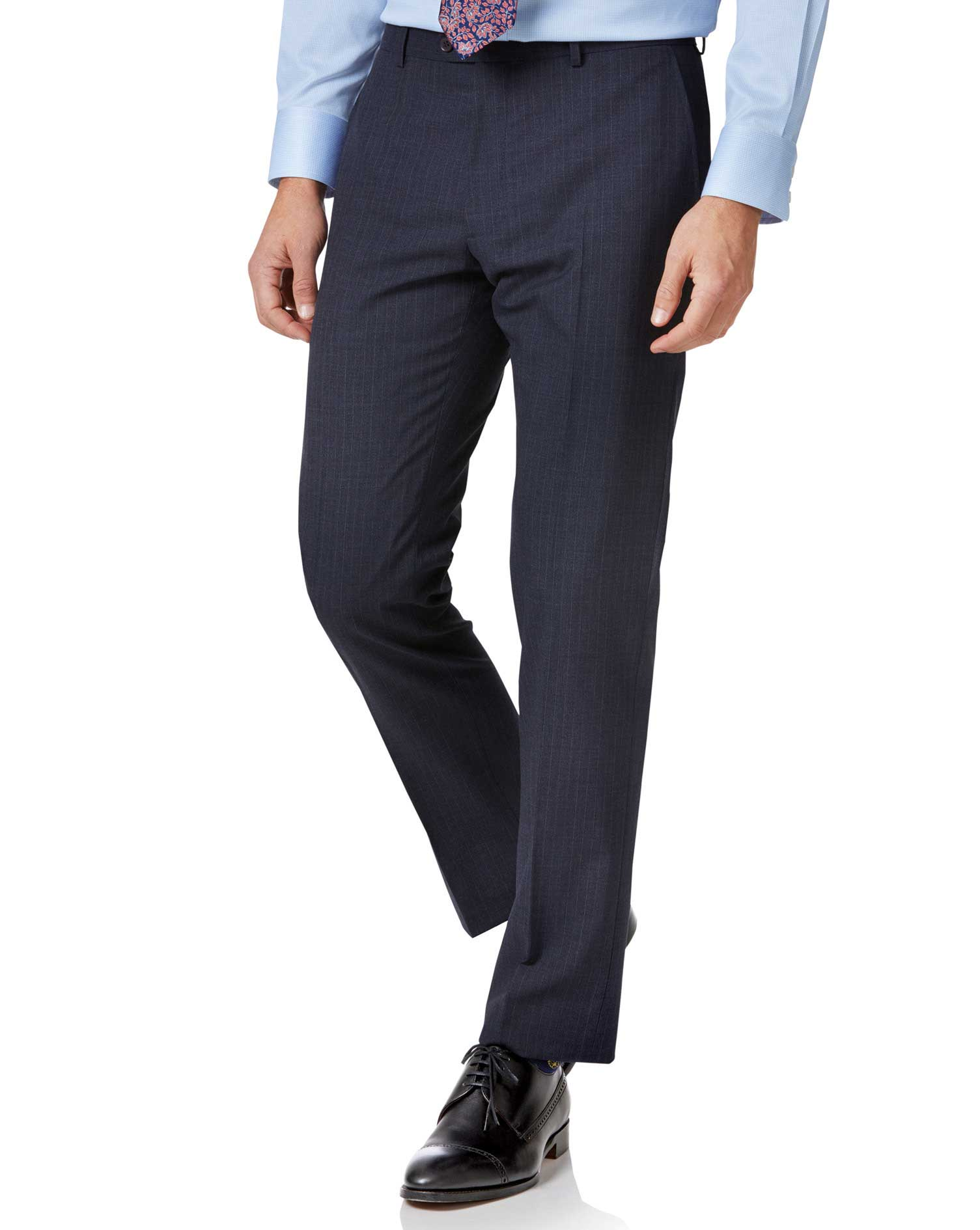 Blue stripe slim fit twist business suit trouser