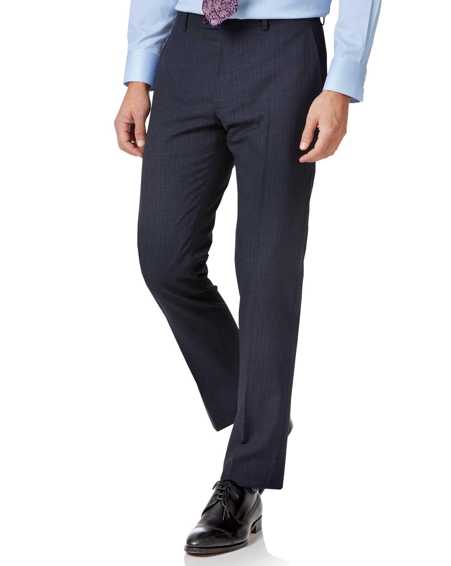 Blue Stripe Slim Fit Twist Business Suit Trouser Size W34 L38 by Charles Tyrwhitt