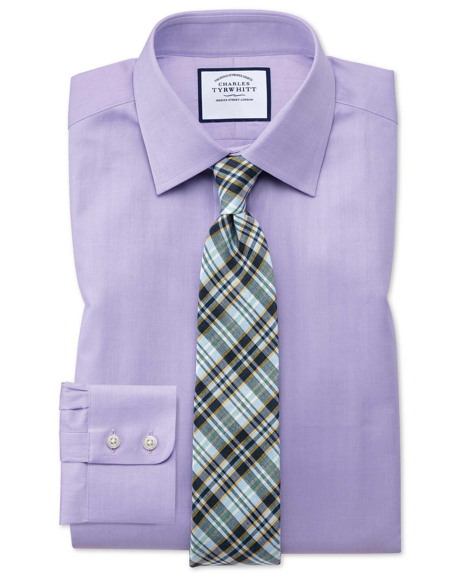 Extra slim fit fine herringbone lilac shirt charles tyrwhitt for Extra slim tuxedo shirt