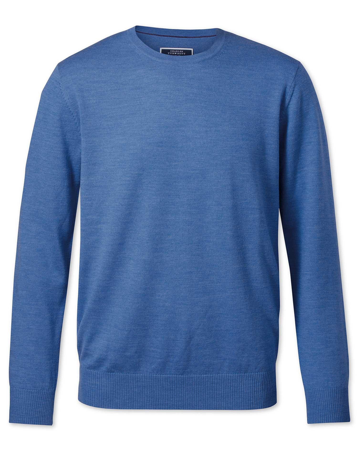Blue Merino Wool Crew Neck Jumper Size Large by Charles Tyrwhitt