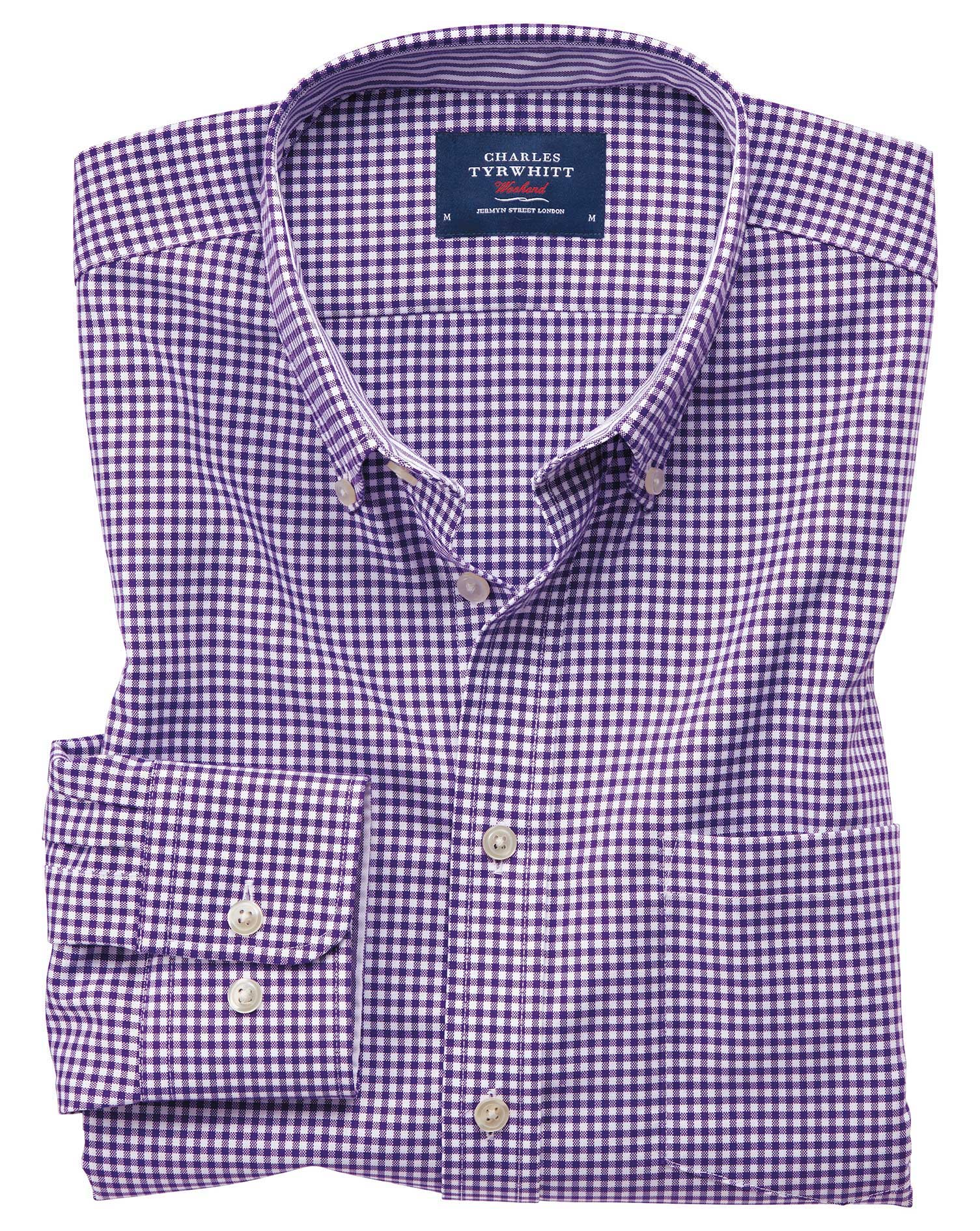 Extra Slim Fit Button-Down Non-Iron Oxford Gingham Purple Stripe Cotton Shirt Single Cuff Size XS by