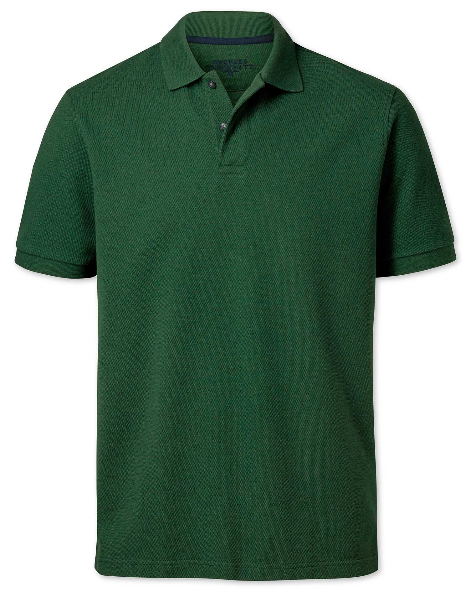Green Cotton Pique Polo Size Medium by Charles Tyrwhitt