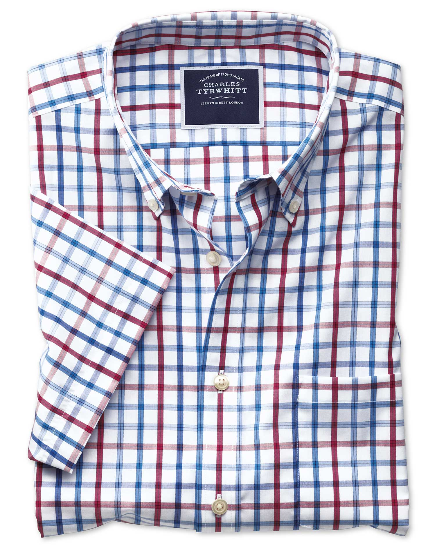 slim fit non-iron red multi check short sleeve cotton casual shirt single cuff size xl by charles tyrwhitt
