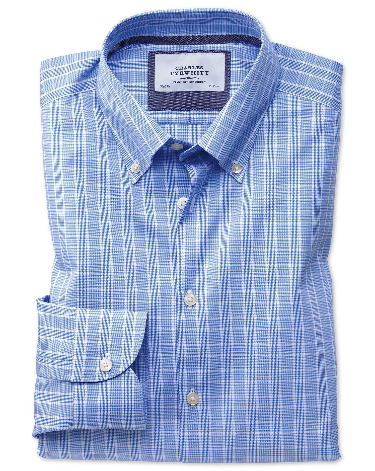 Slim Fit Button-Down Business Casual Non-Iron Prince Of Wales Light Blue Cotton Formal Shirt Single