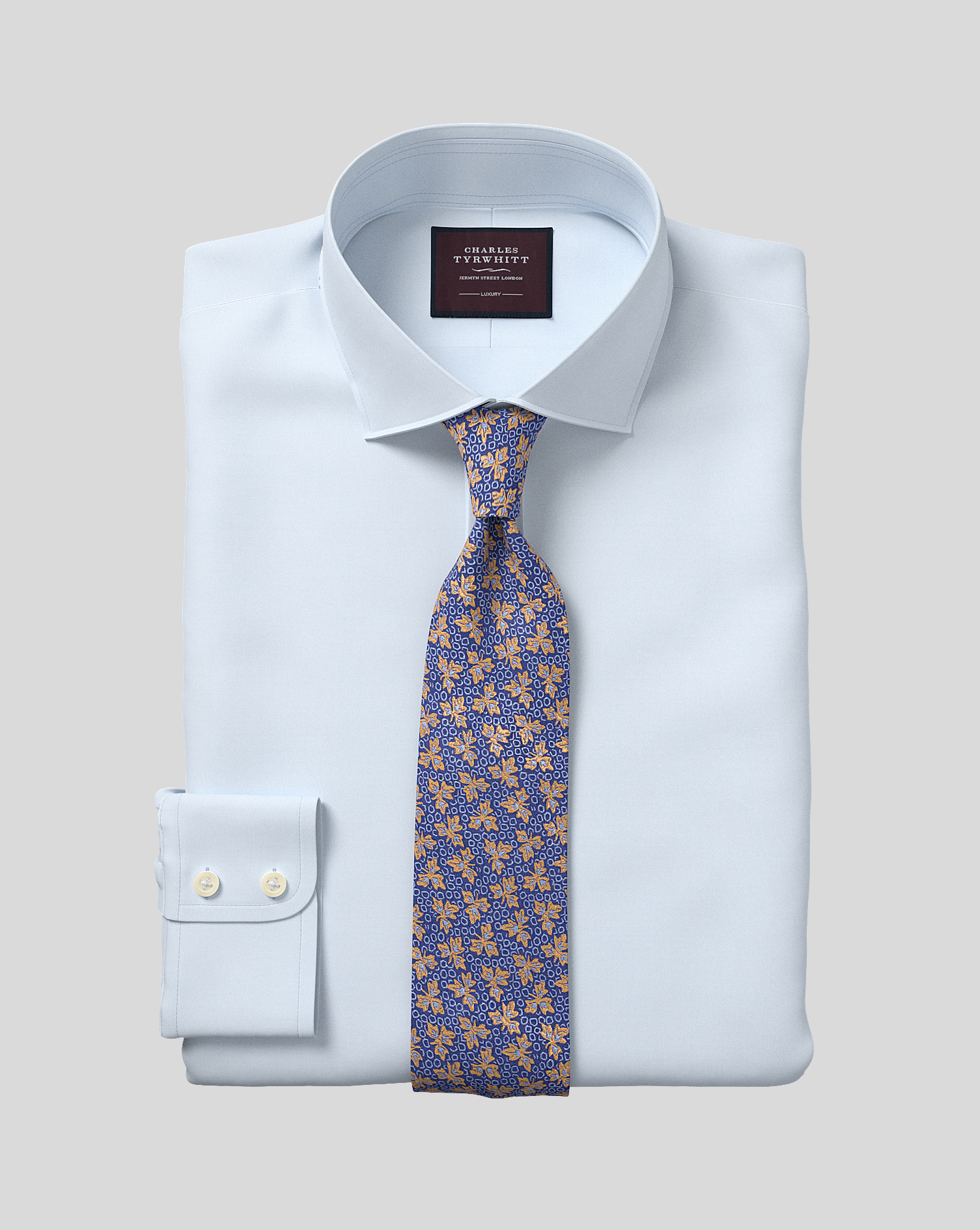 Egyptian Cotton Classic Fit Sky Blue Luxury Twill Shirt