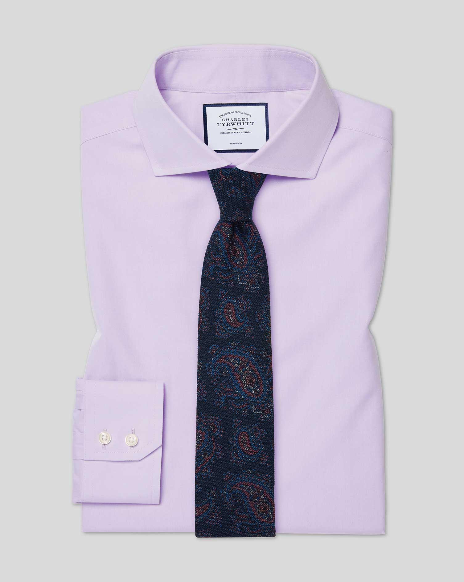 Cotton Slim Fit Non-Iron Cutaway Poplin Lilac Shirt