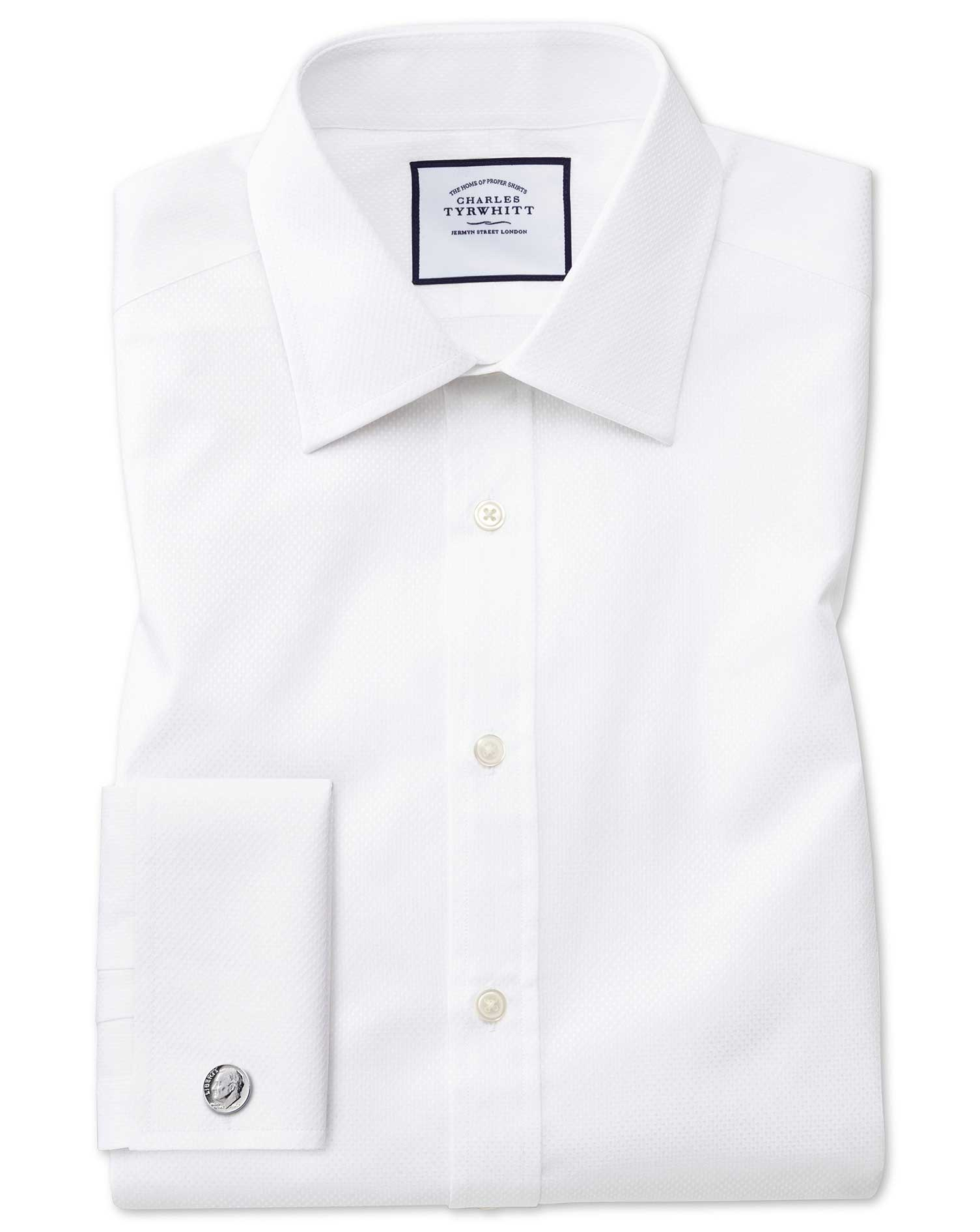 Extra Slim Fit White Cube Weave Egyptian Cotton Formal Shirt Single Cuff Size 16.5/36 by Charles Tyr