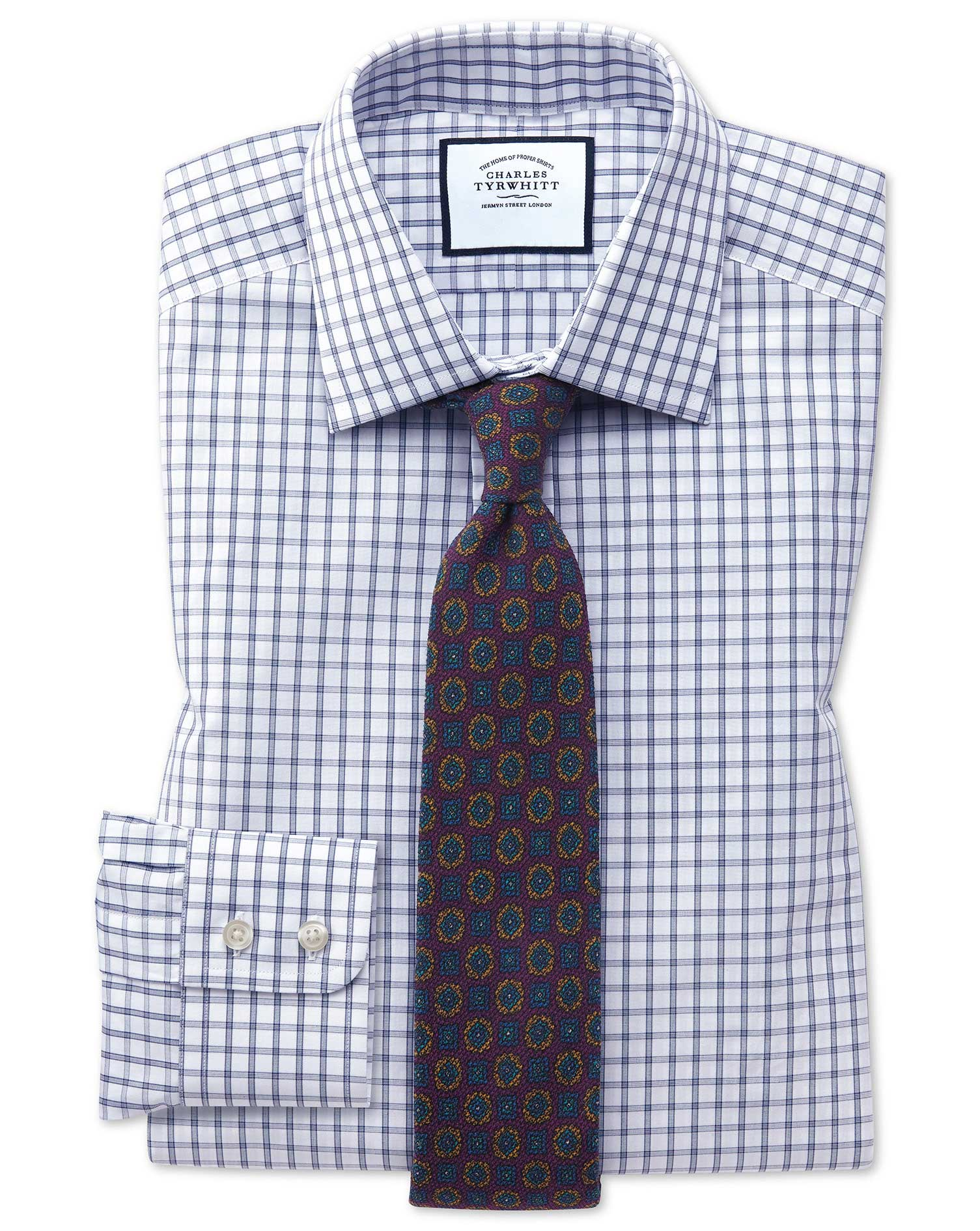 Slim Fit Blue Windowpane Check Cotton Formal Shirt Single Cuff Size 16/33 by Charles Tyrwhitt