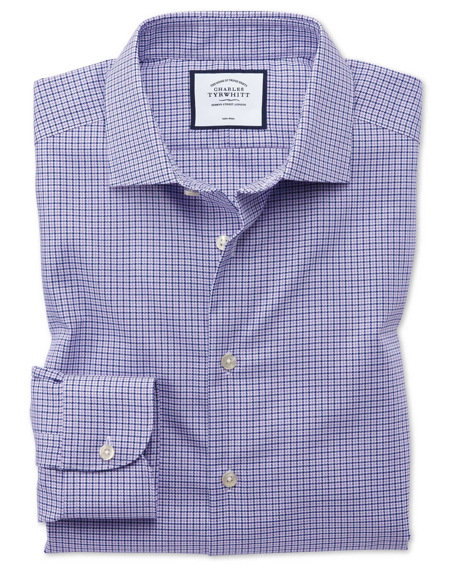 Slim Fit Business Casual Non-Iron Puppytooth Modern Texture Lilac Cotton Formal Shirt Single Cuff Si