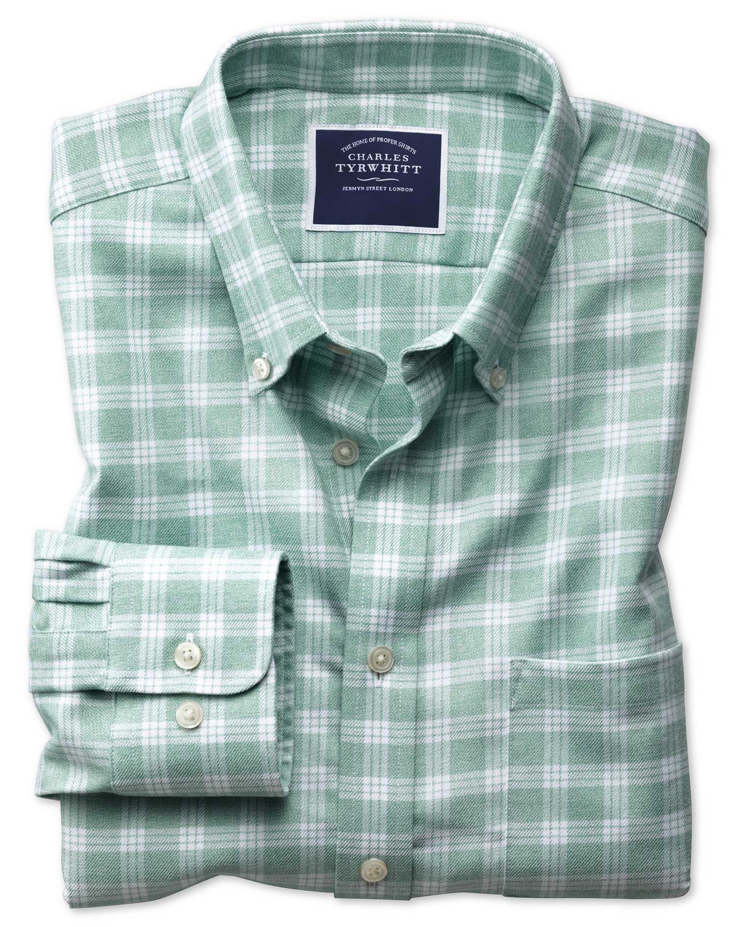 slim fit button-down non-iron twill green and white cotton casual shirt single cuff size xs by charles tyrwhitt