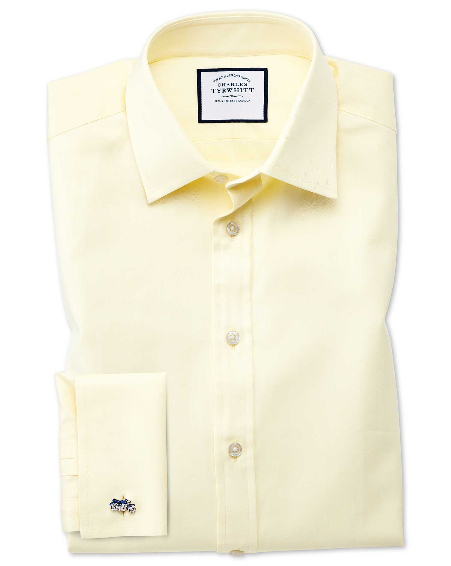 Extra Slim Fit Fine Herringbone Yellow Cotton Formal Shirt Double Cuff Size 16/34 by Charles Tyrwhit