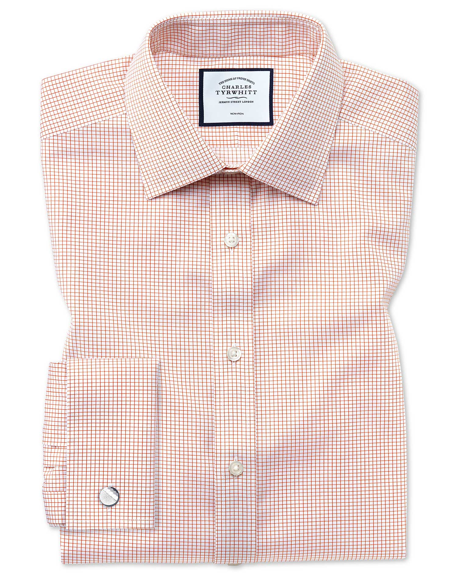 Slim Fit Non-Iron Twill Mini Grid Check Orange Cotton Formal Shirt Single Cuff Size 17/34 by Charles