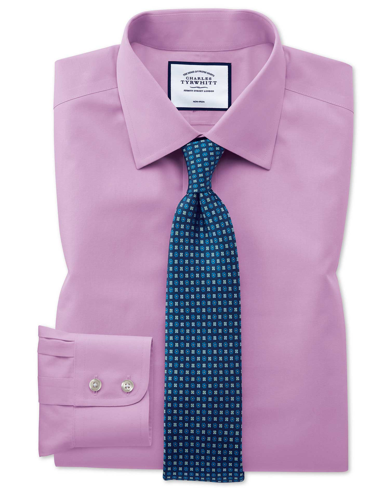 Slim Fit Violet Non-Iron Poplin Cotton Formal Shirt Double Cuff Size 15.5/35 by Charles Tyrwhitt