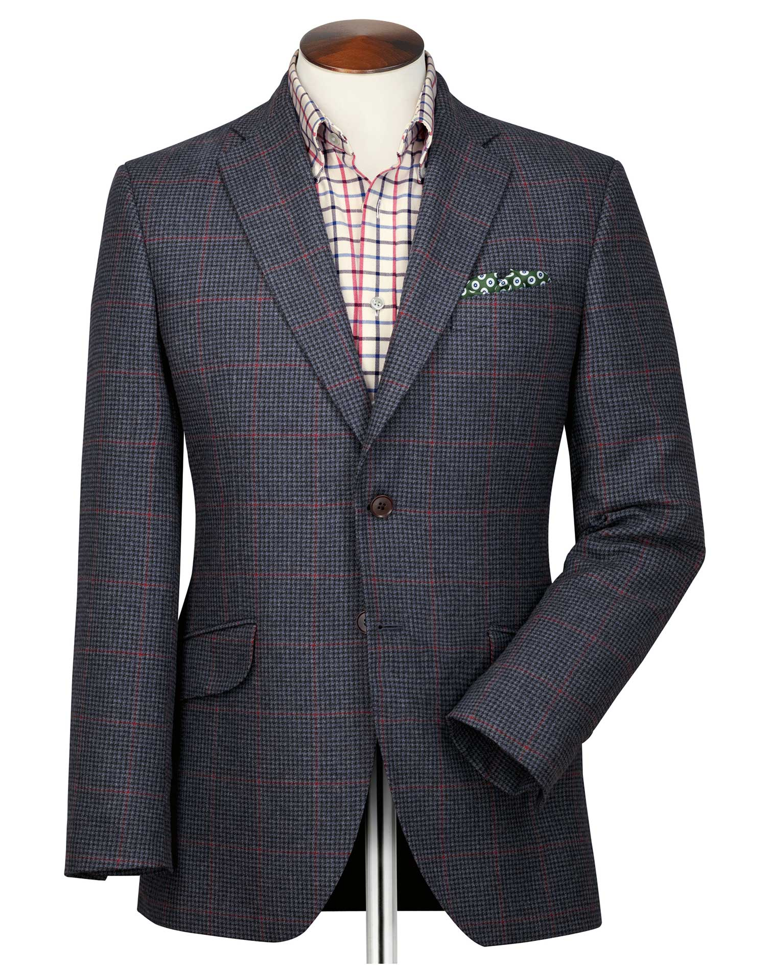 Classic Fit Navy and Pink Checkered British Tweed Jacket Size 40 Long by Charles Tyrwhitt