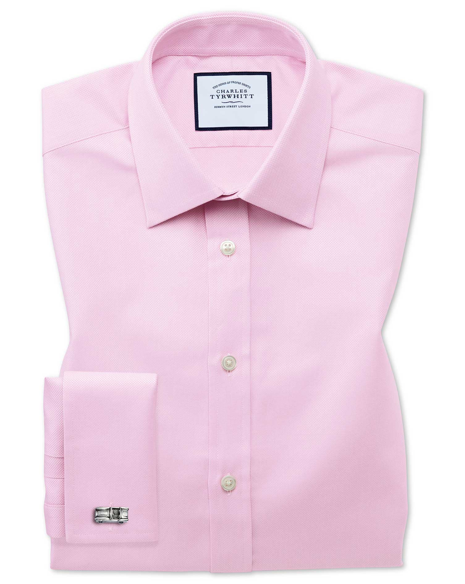 Extra Slim Fit Egyptian Cotton Royal Oxford Pink Formal Shirt Single Cuff Size 15.5/33 by Charles Ty