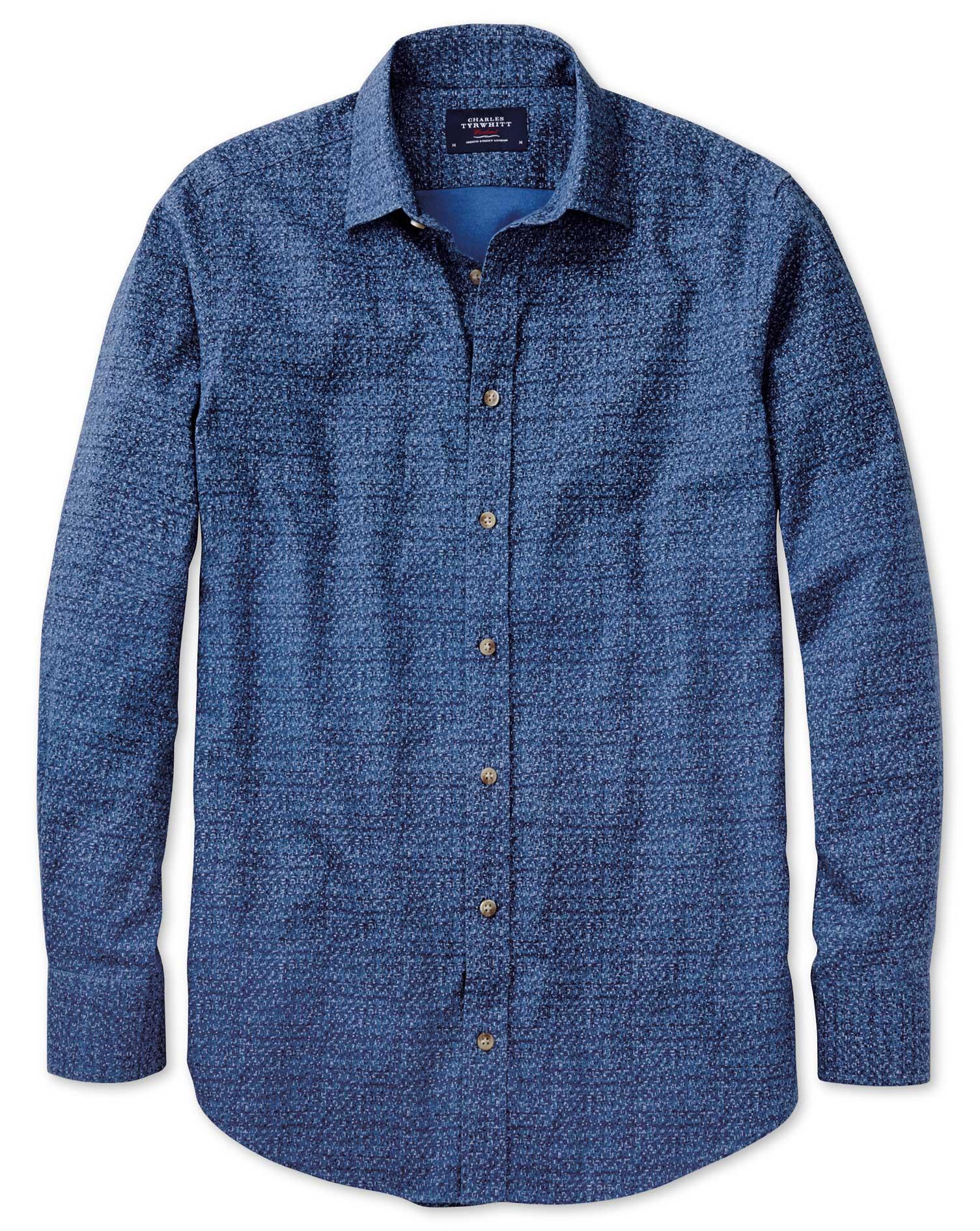 Classic Fit Blue Print Shirt Single Cuff Size Large by Charles Tyrwhitt