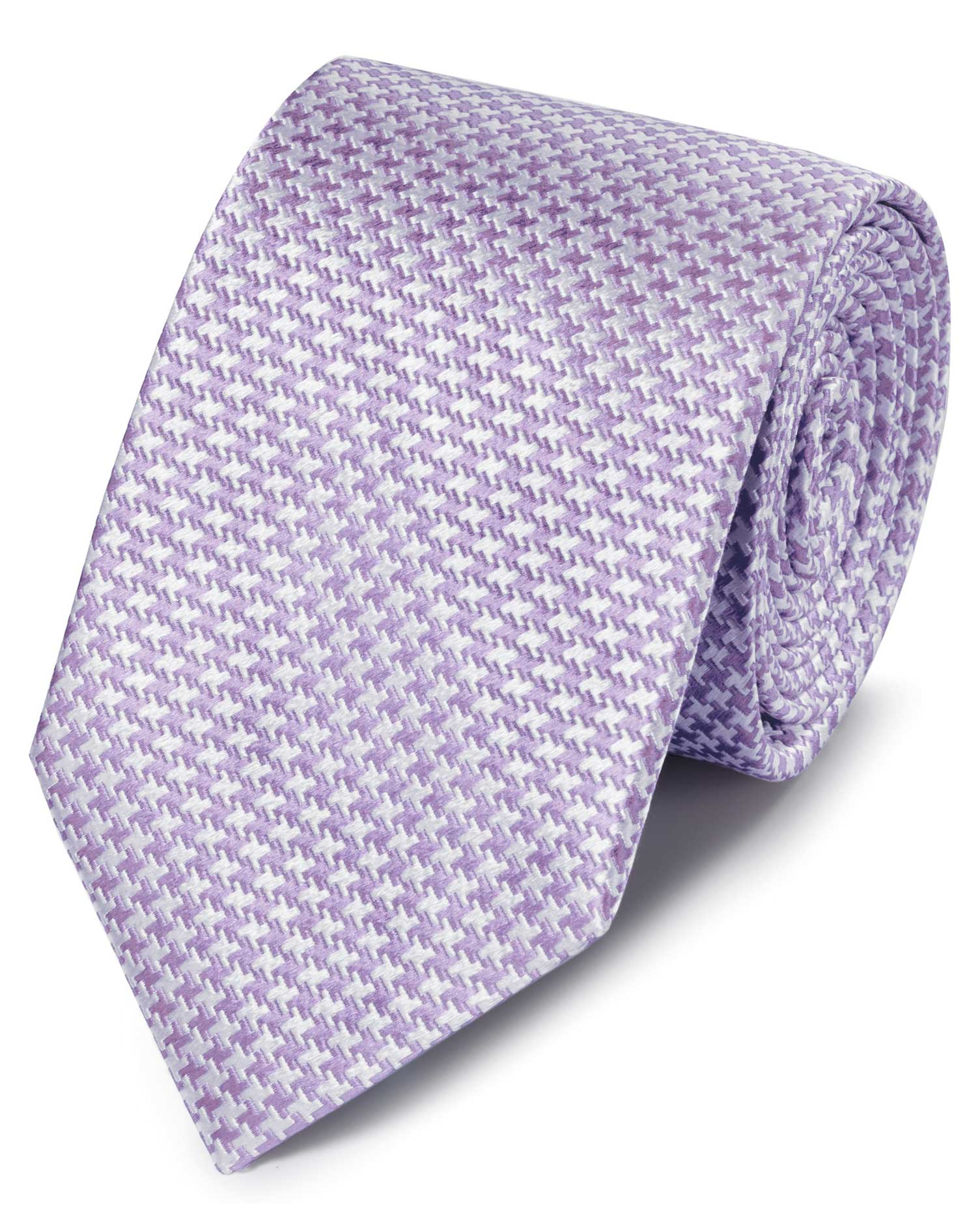 Lilac Silk Stain Resistant Puppytooth Classic Tie Size OSFA by Charles Tyrwhitt