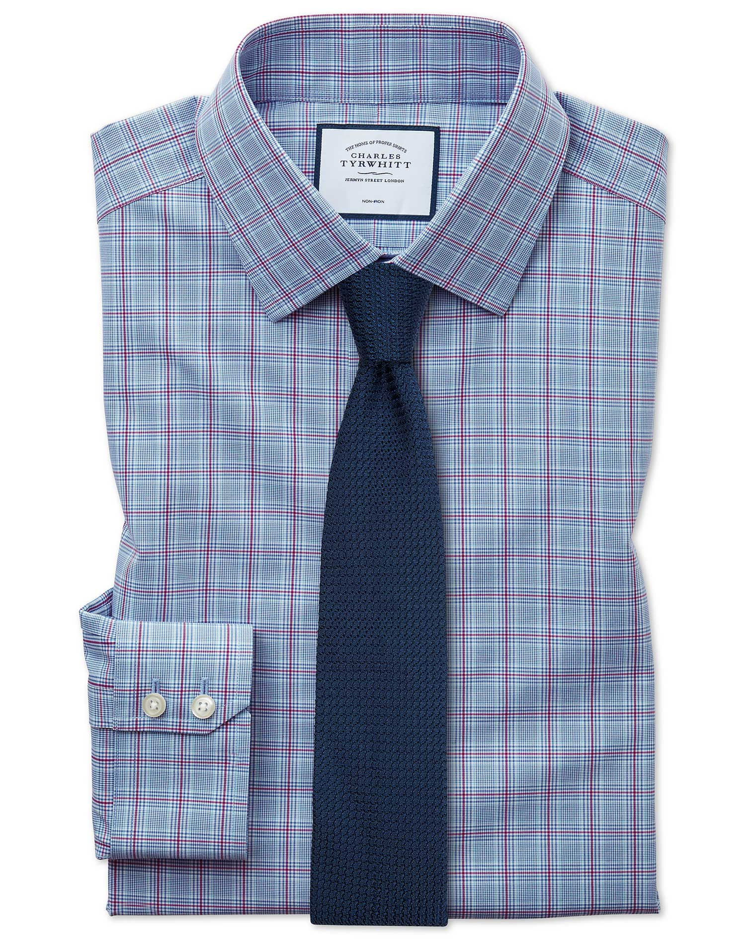 Cotton Slim Fit Non-Iron Prince Of Wales Check Blue And Purple Shirt