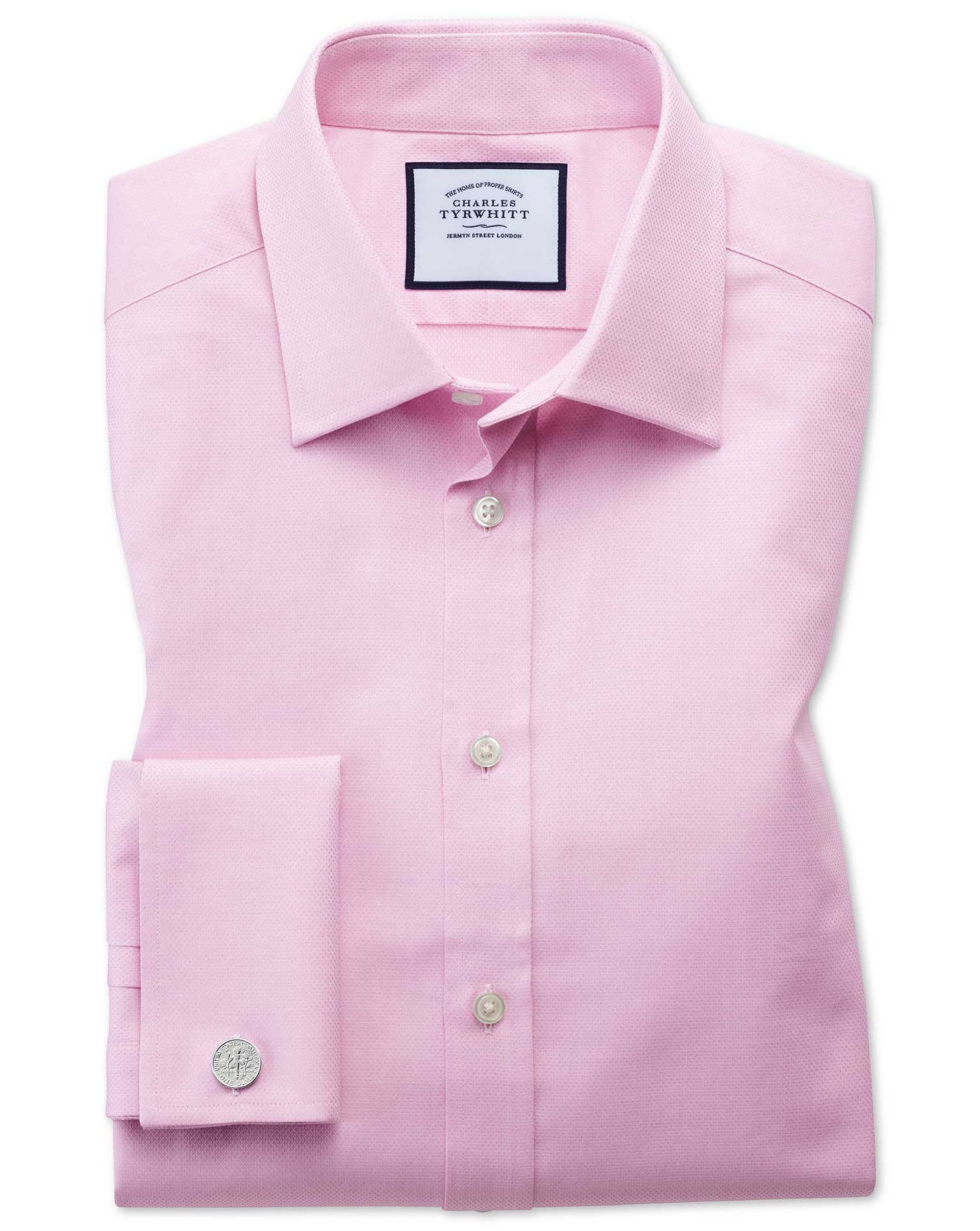 Classic Fit Egyptian Cotton Trellis Weave Pink Formal Shirt Single Cuff Size 16.5/33 by Charles Tyrw