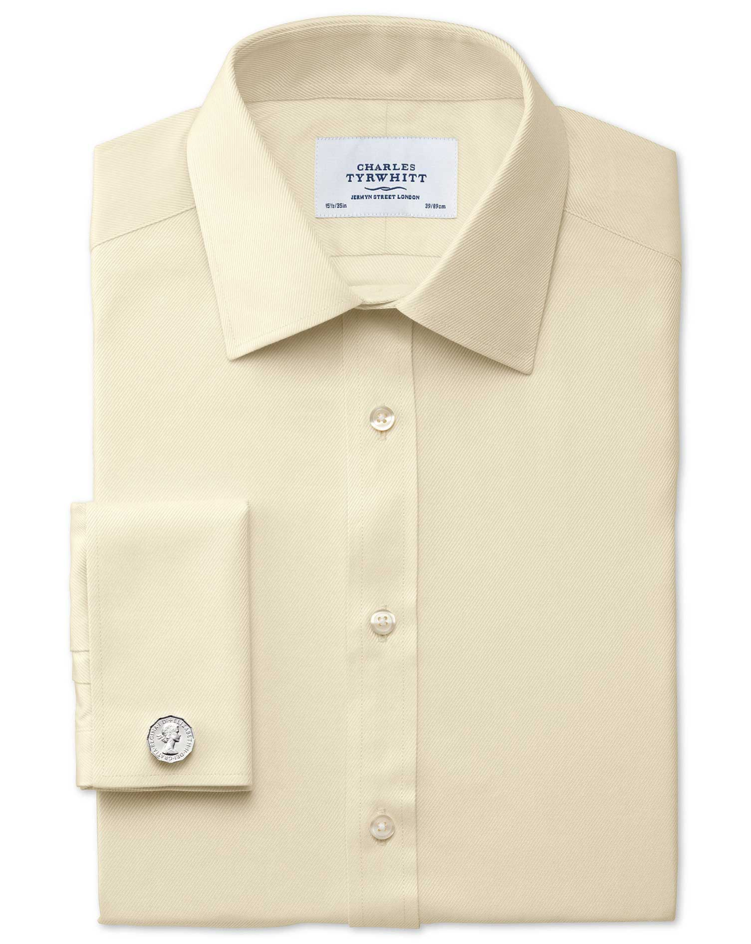 Extra Slim Fit Egyptian Cotton Cavalry Twill Yellow Formal Shirt Double Cuff Size 16.5/38 by Charles