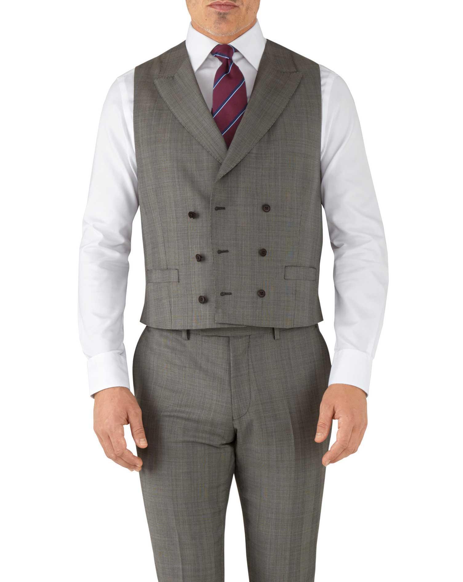 Silver Adjustable Fit Italian Luxury Suit Wool Waistcoat Size w38 by Charles Tyrwhitt
