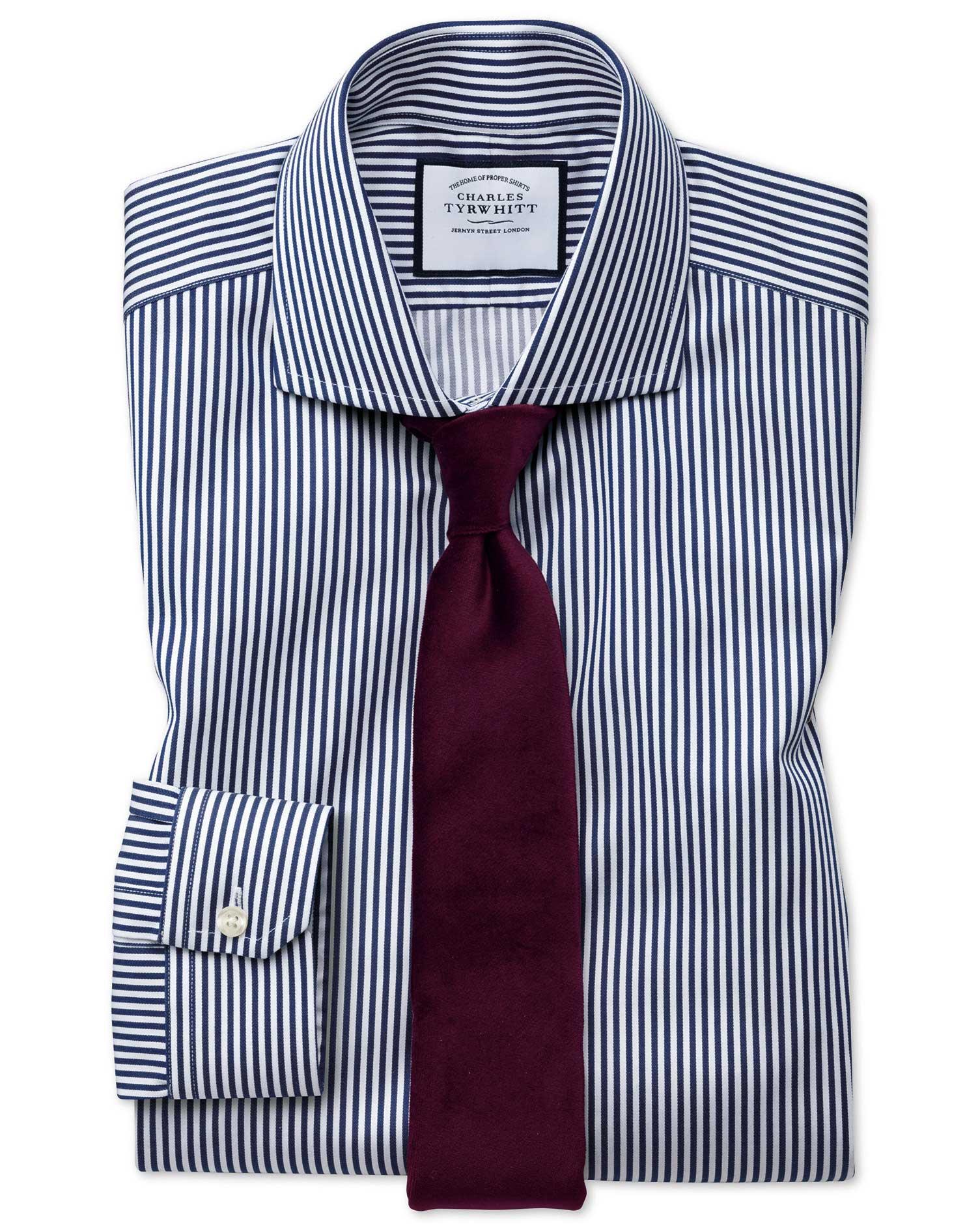 Super Slim Fit Non-Iron Cutaway Collar Navy Twill Stripe Cotton Formal Shirt Single Cuff Size 15.5/3