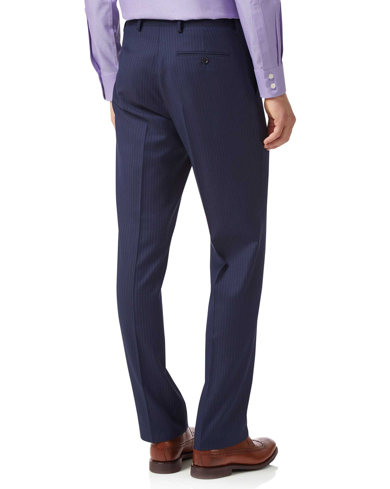 Blue classic fit twill business suit trousers
