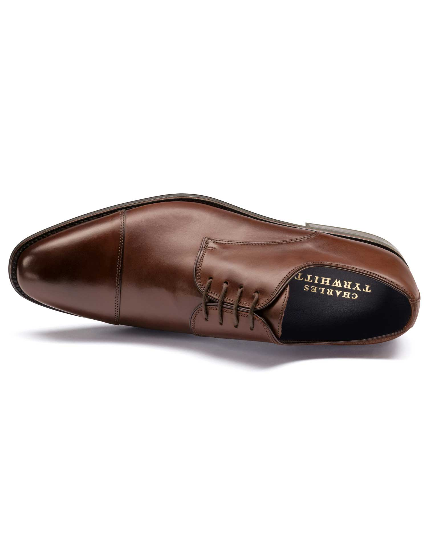 Brown Performance Derby Toe Cap Shoe Size 6 R by Charles Tyrwhitt