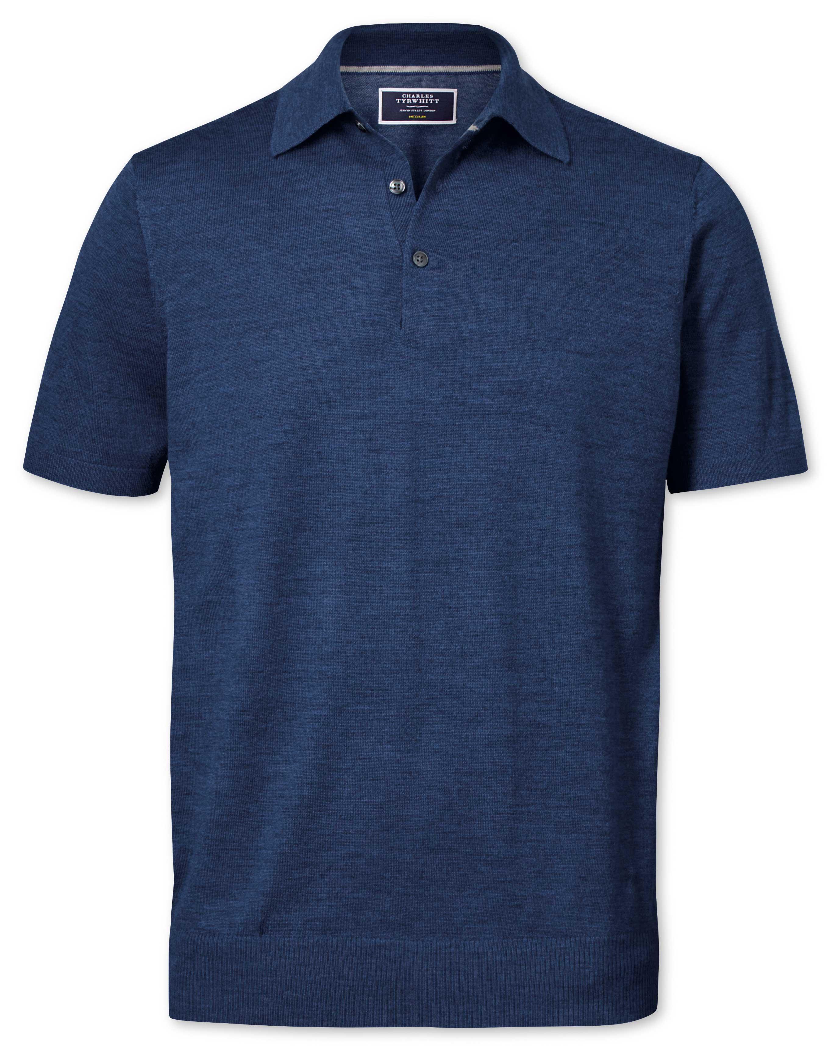 Mid Blue Merino Wool Polo Collar Short Sleeve Jumper Size XXXL by Charles Tyrwhitt