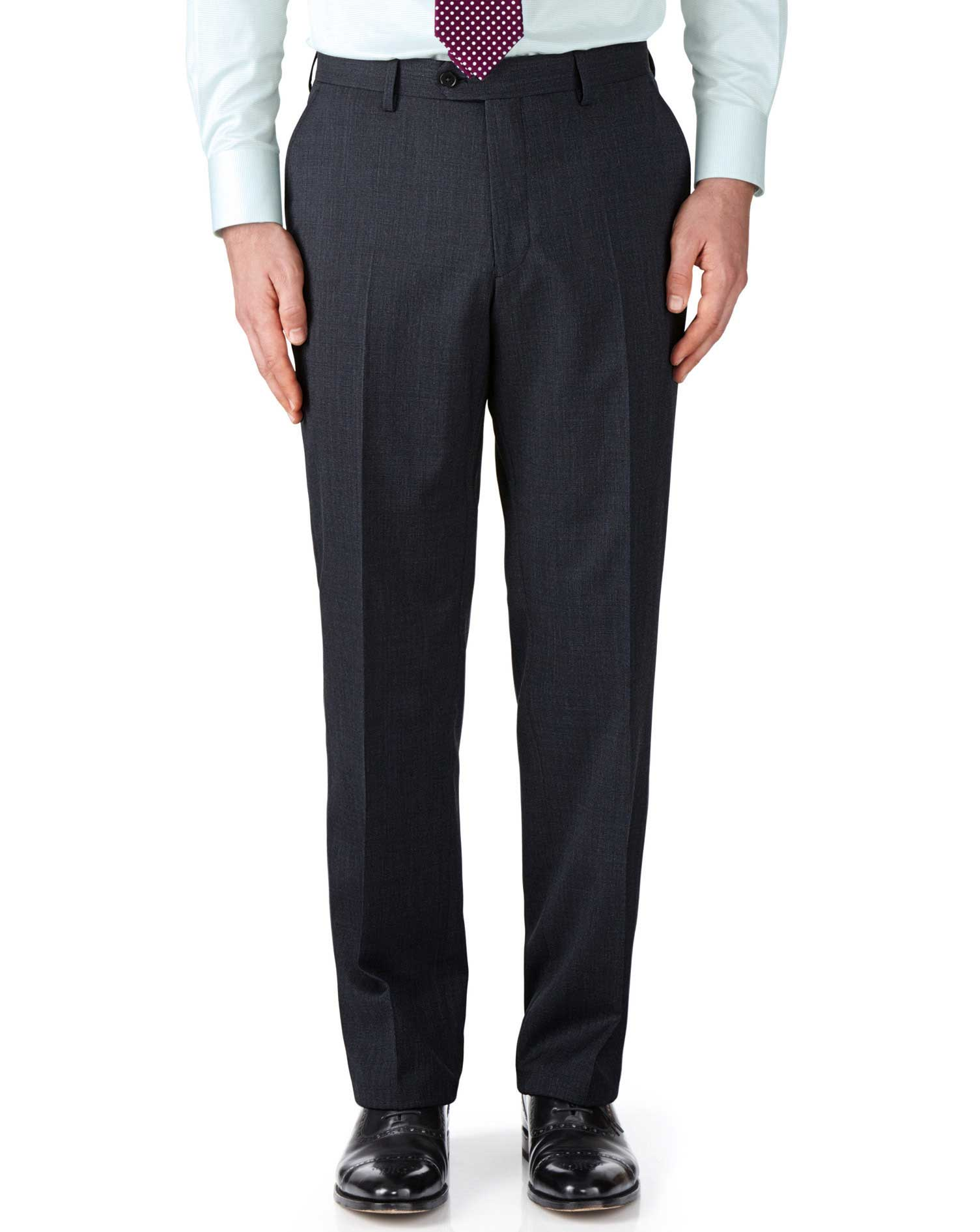 Navy Classic Fit End-On-End Business Suit Trousers Size W38 L38 by Charles Tyrwhitt