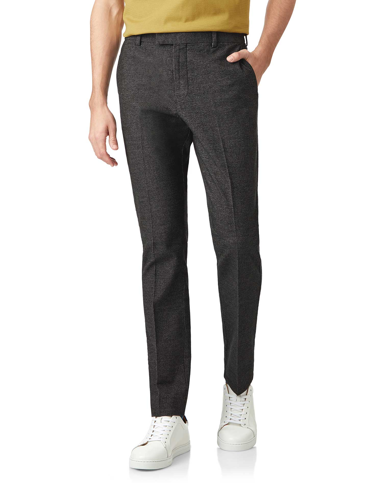 Charcoal Non-Iron Cotton Stretch Texture Tailored Trousers