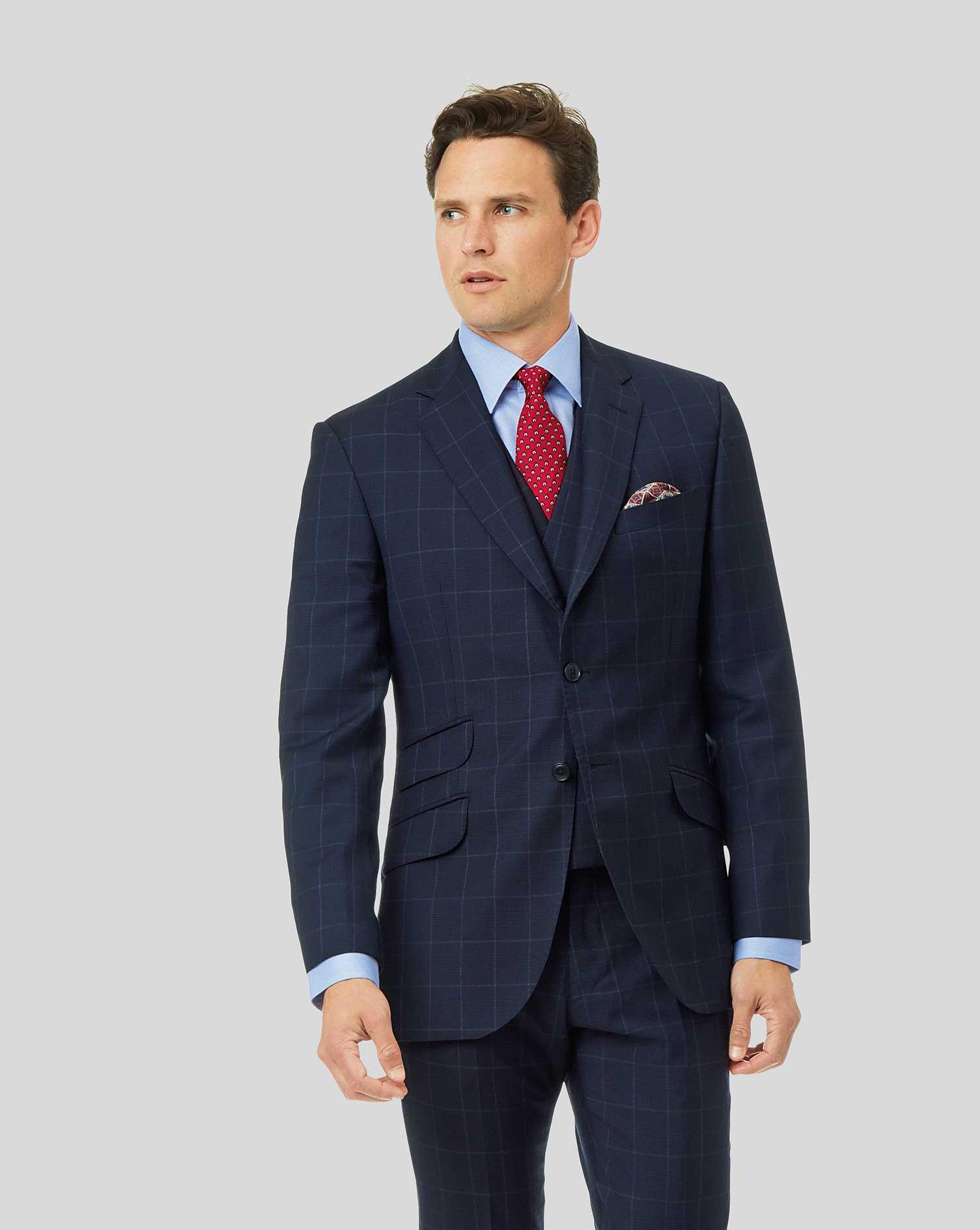 Wool British Luxury Check Suit Jacket - Navy