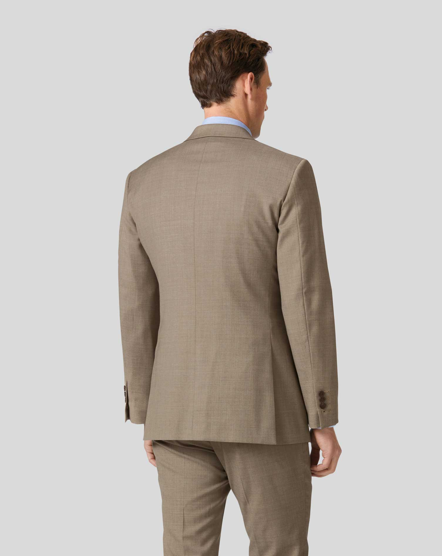 Veste de costume business fauve en twill slim fit