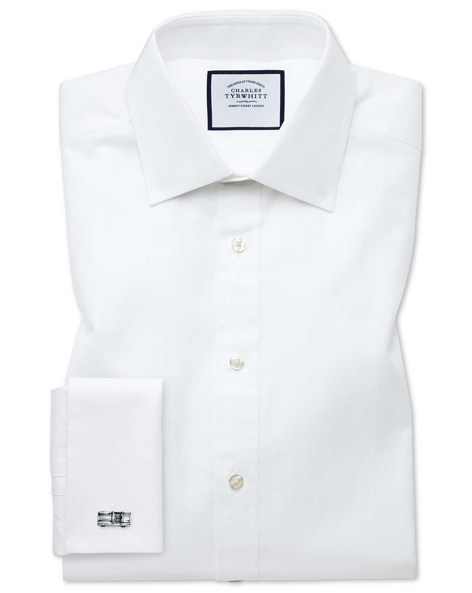 Slim Fit Fine Herringbone White Cotton Formal Shirt Double Cuff Size 17/37 by Charles Tyrwhitt