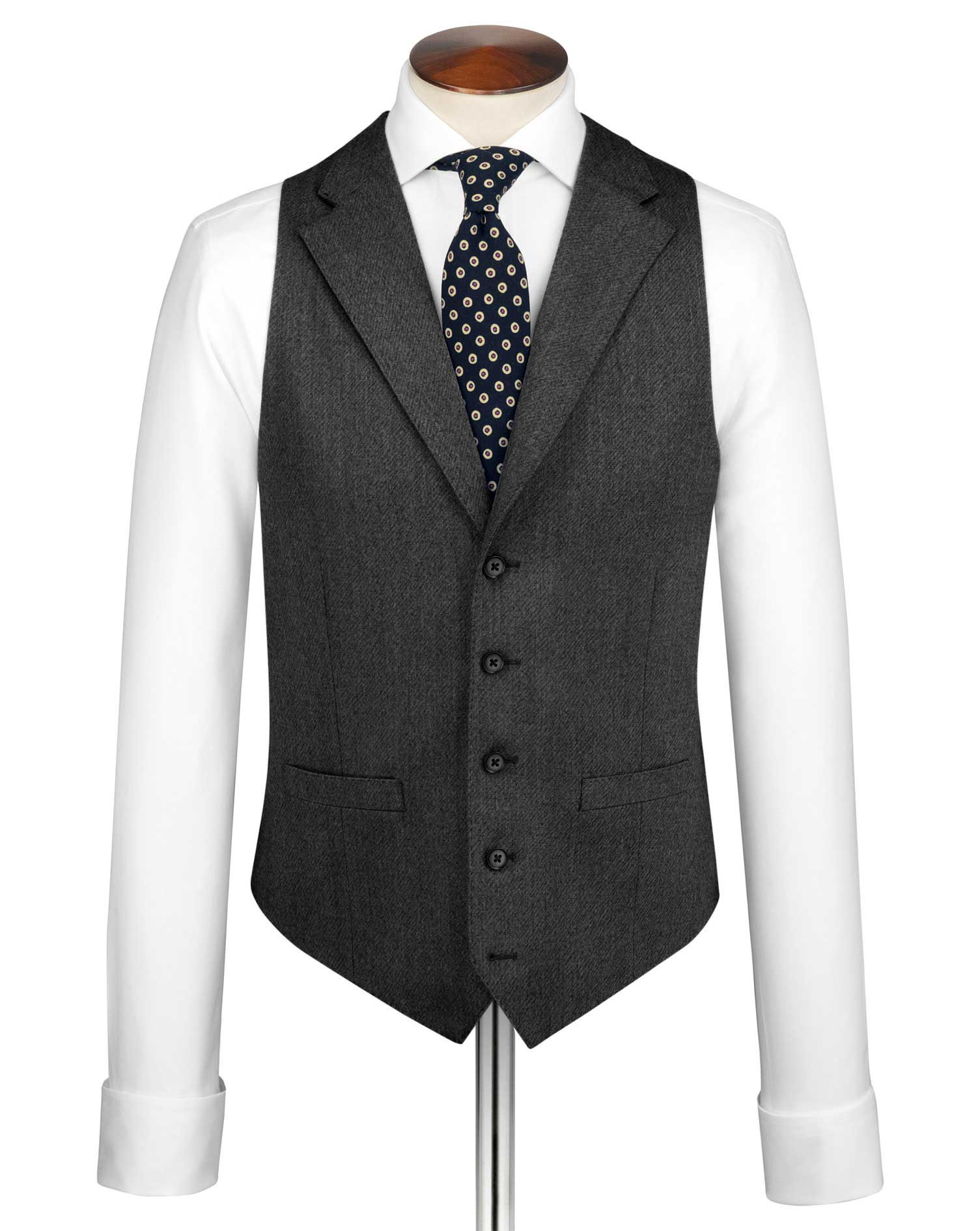 Grey Saxony Business Suit Wool Waistcoat Size w40 by Charles Tyrwhitt