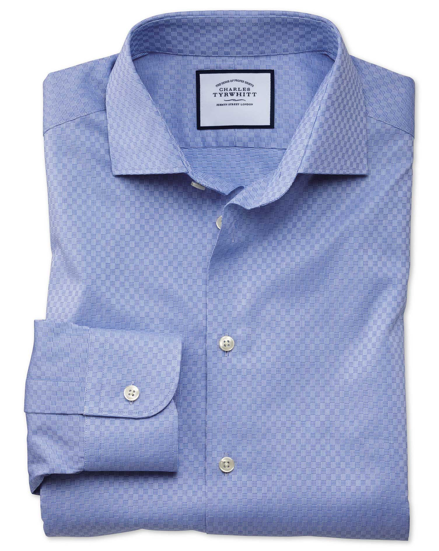 Slim Fit Business Casual Mid-Blue Square Pattern Egyptian Cotton Formal Shirt Single Cuff Size 18/37
