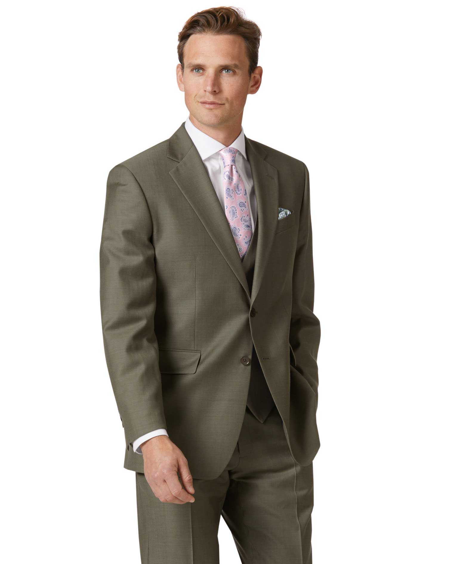 Olive Classic Fit Twill Business Suit Wool Jacket Size 48 Regular by Charles Tyrwhitt