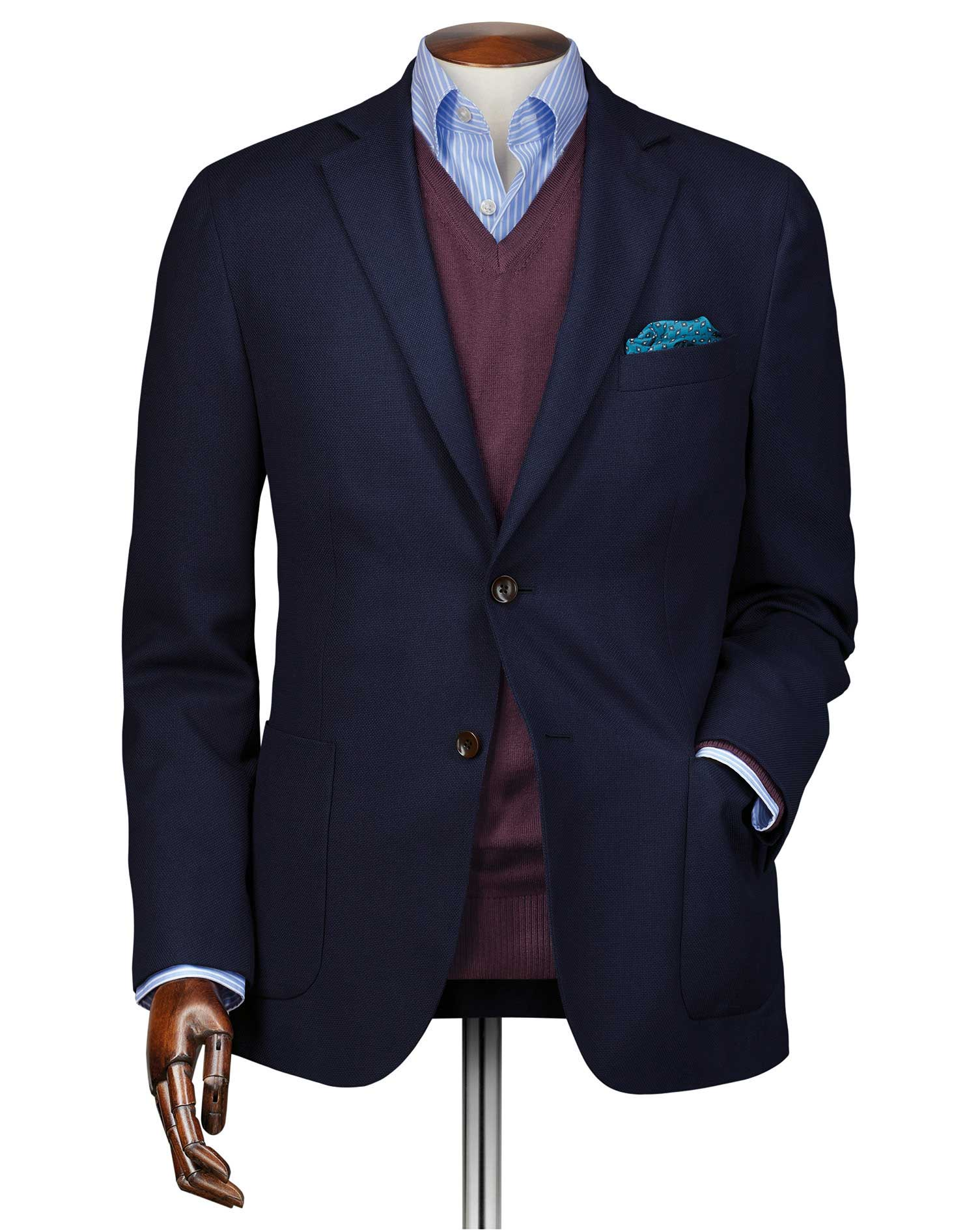 Slim Fit Navy Italian Wool Travel Wool Blazer Size 38 Short by Charles Tyrwhitt