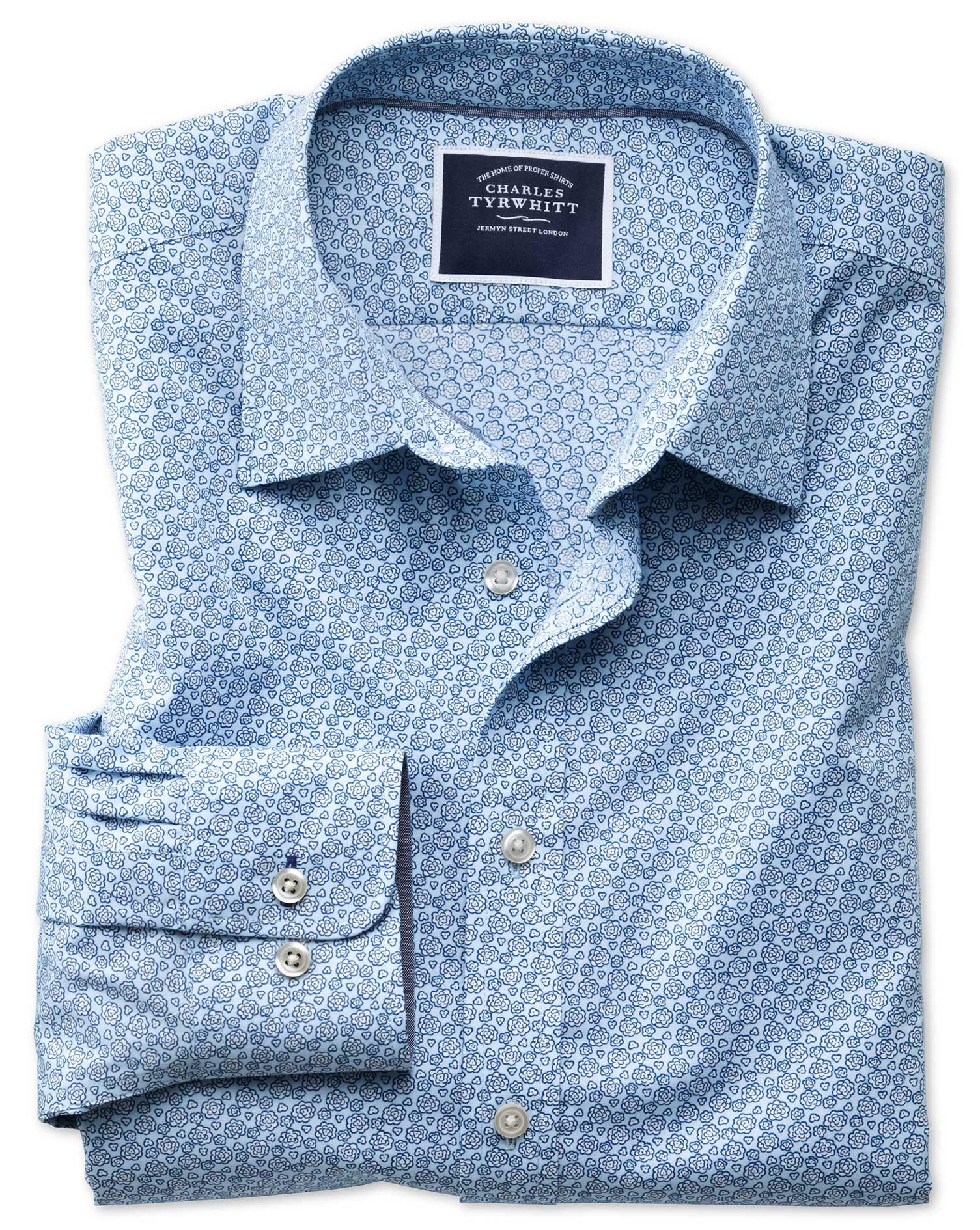 Classic Fit Non-Iron Poplin Light Blue Floral Print Cotton Shirt Single Cuff Size Medium by Charles