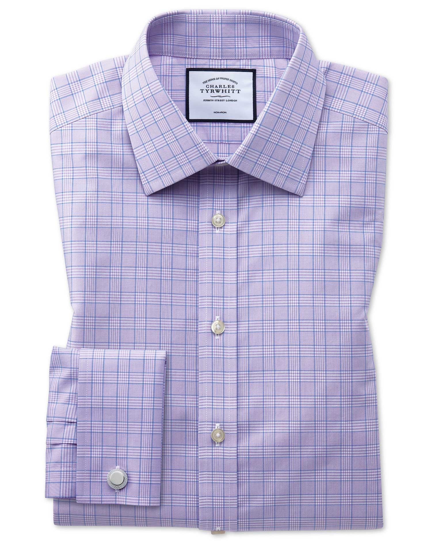 Extra Slim Fit Non-Iron Lilac and Blue Prince Of Wales Check Cotton Formal Shirt Double Cuff Size 15