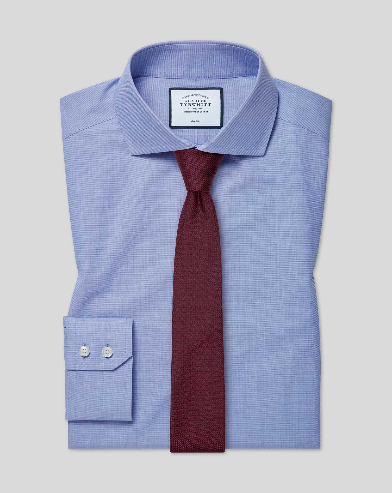 Cotton Extra Slim Fit Non-Iron 4-Way Stretch Blue Shirt