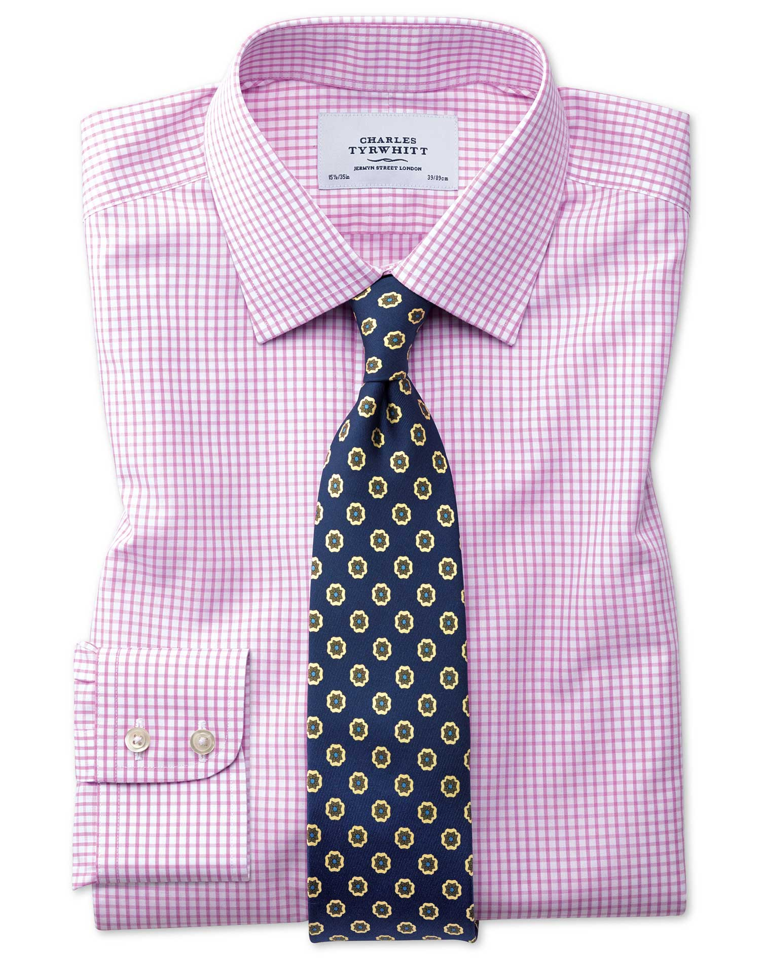 Slim Fit Non-Iron Grid Check Pink Cotton Formal Shirt Single Cuff Size 16/34 by Charles Tyrwhitt