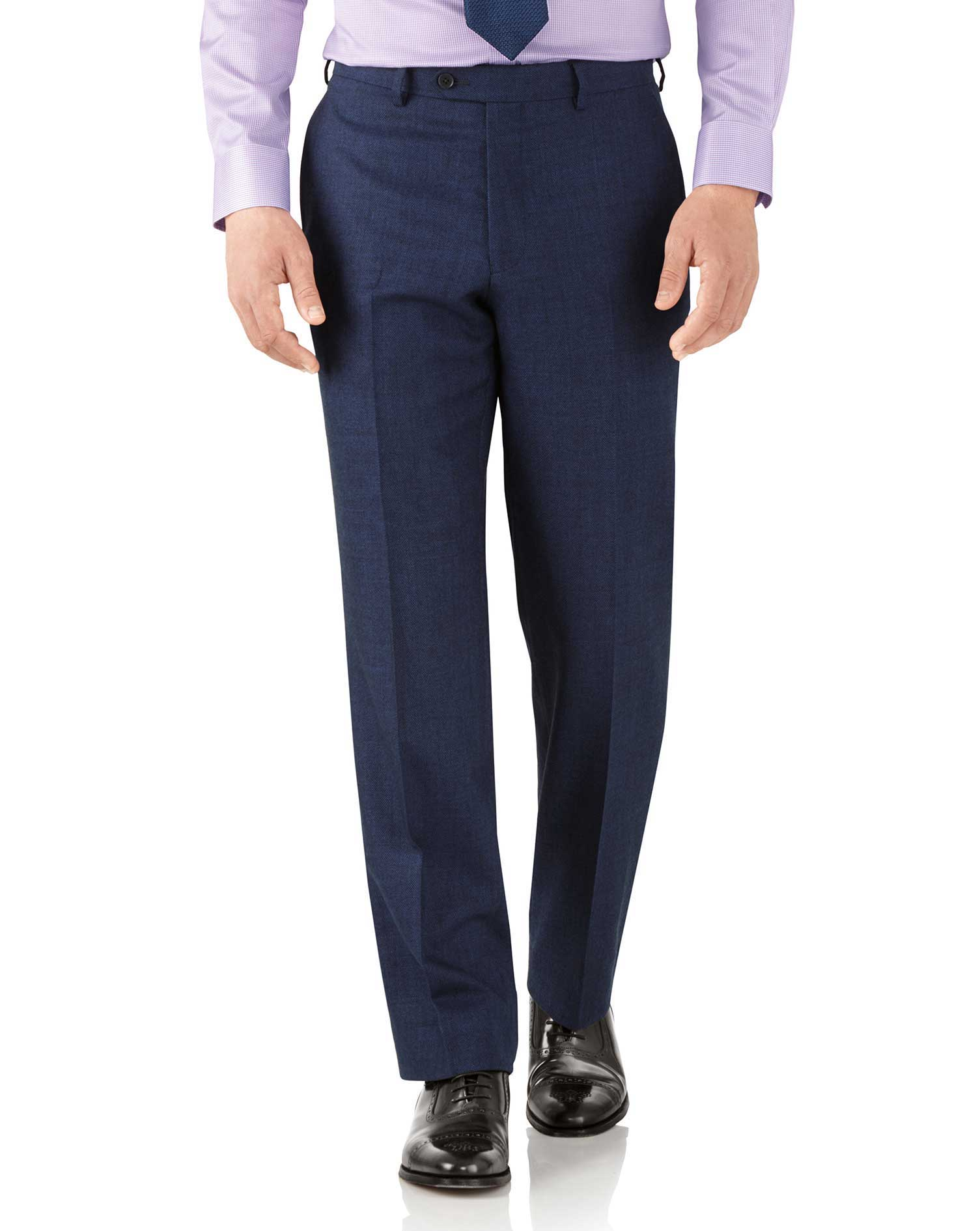 Royal Blue Classic Fit Flannel Business Suit Trousers Size W38 L34 by Charles Tyrwhitt