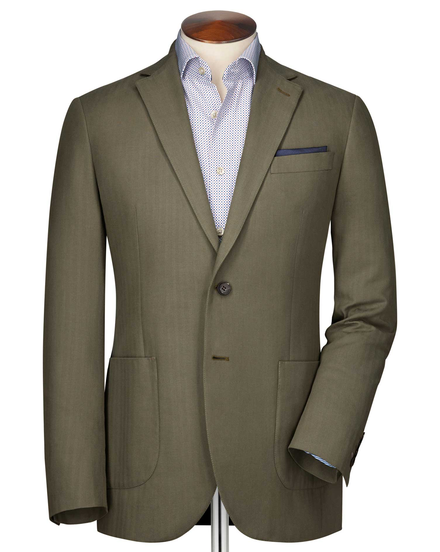 Slim Fit Khaki Herringbone Cotton Jacket Size 46 Regular by Charles Tyrwhitt