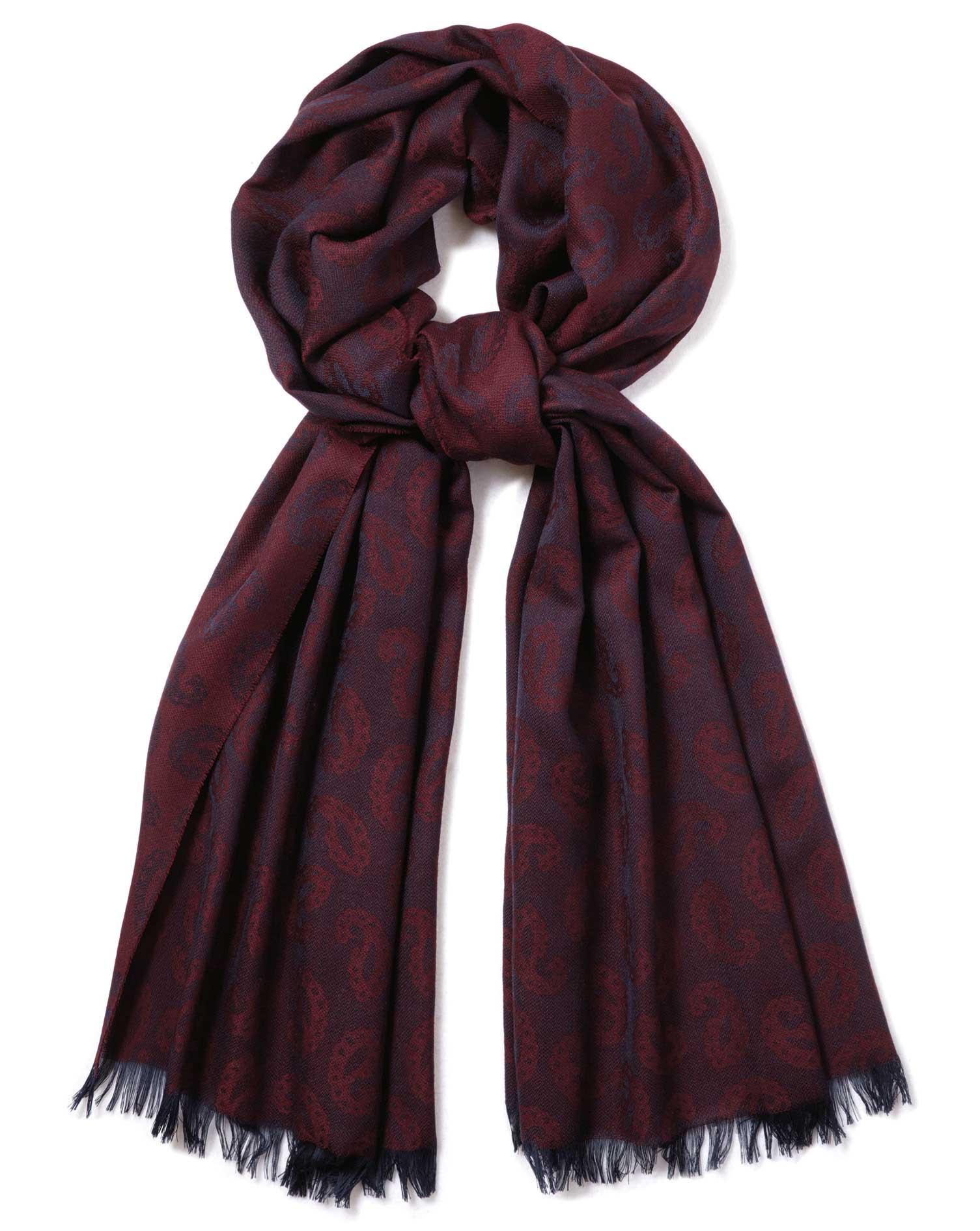 más fotos bd966 7f343 Bufanda burdeos de lana merina ligera con estampado de cashmere