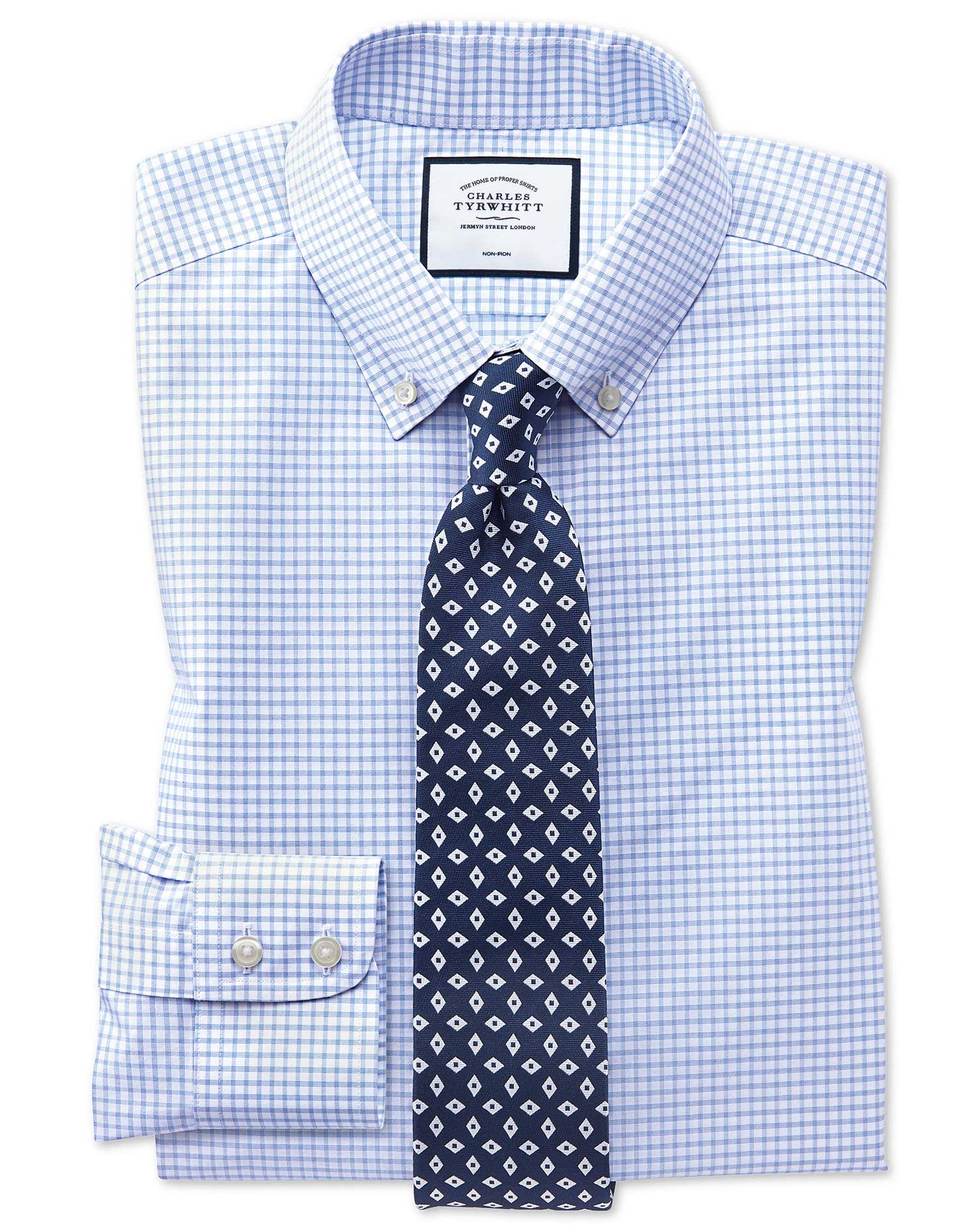 Classic Fit Non-Iron Sky Blue Windowpane Check Cotton Formal Shirt Single Cuff Size 16.5/36 by Charl