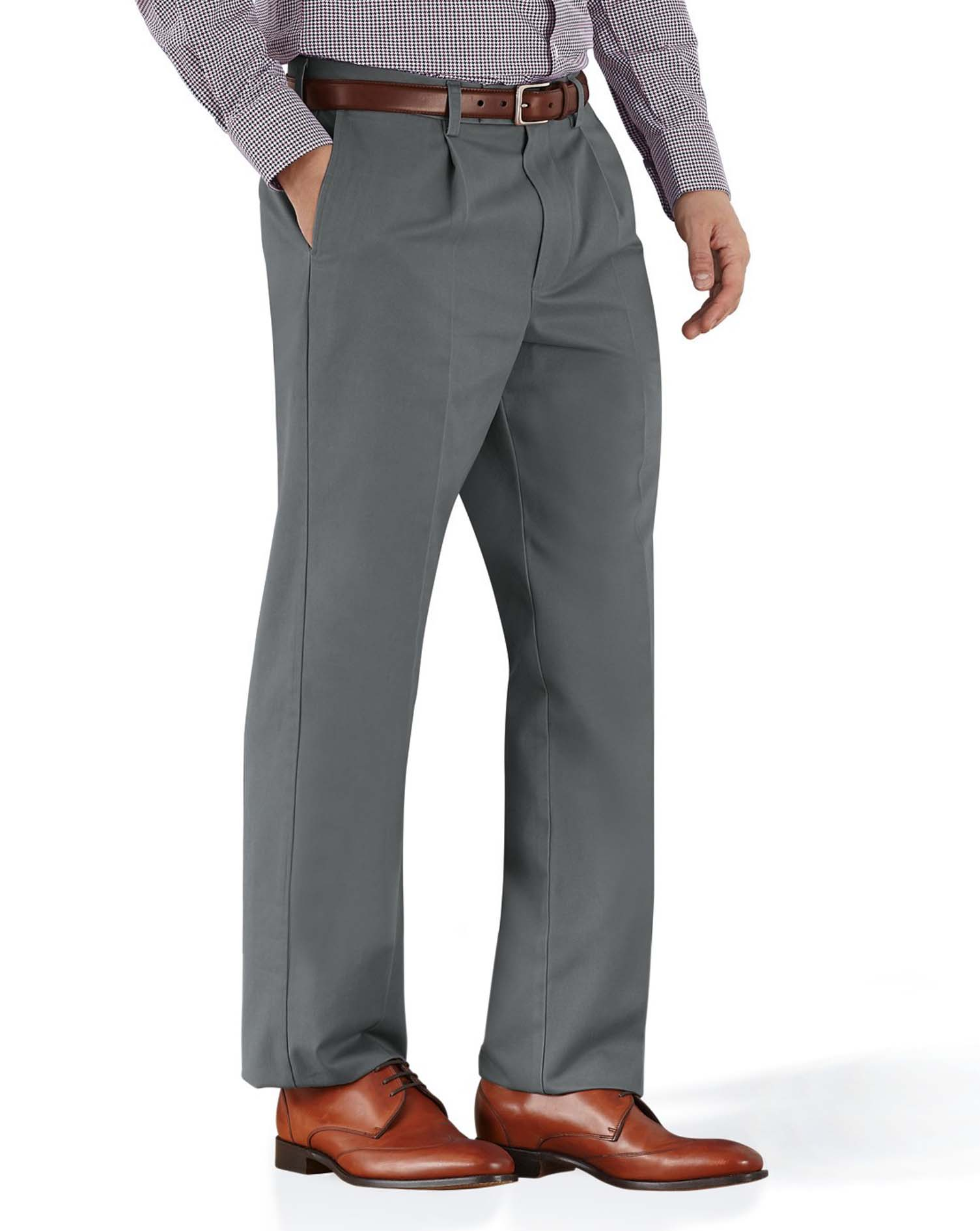 Grey Classic Fit Single Pleat Non-Iron Cotton Chino Trousers Size W44 L38 by Charles Tyrwhitt