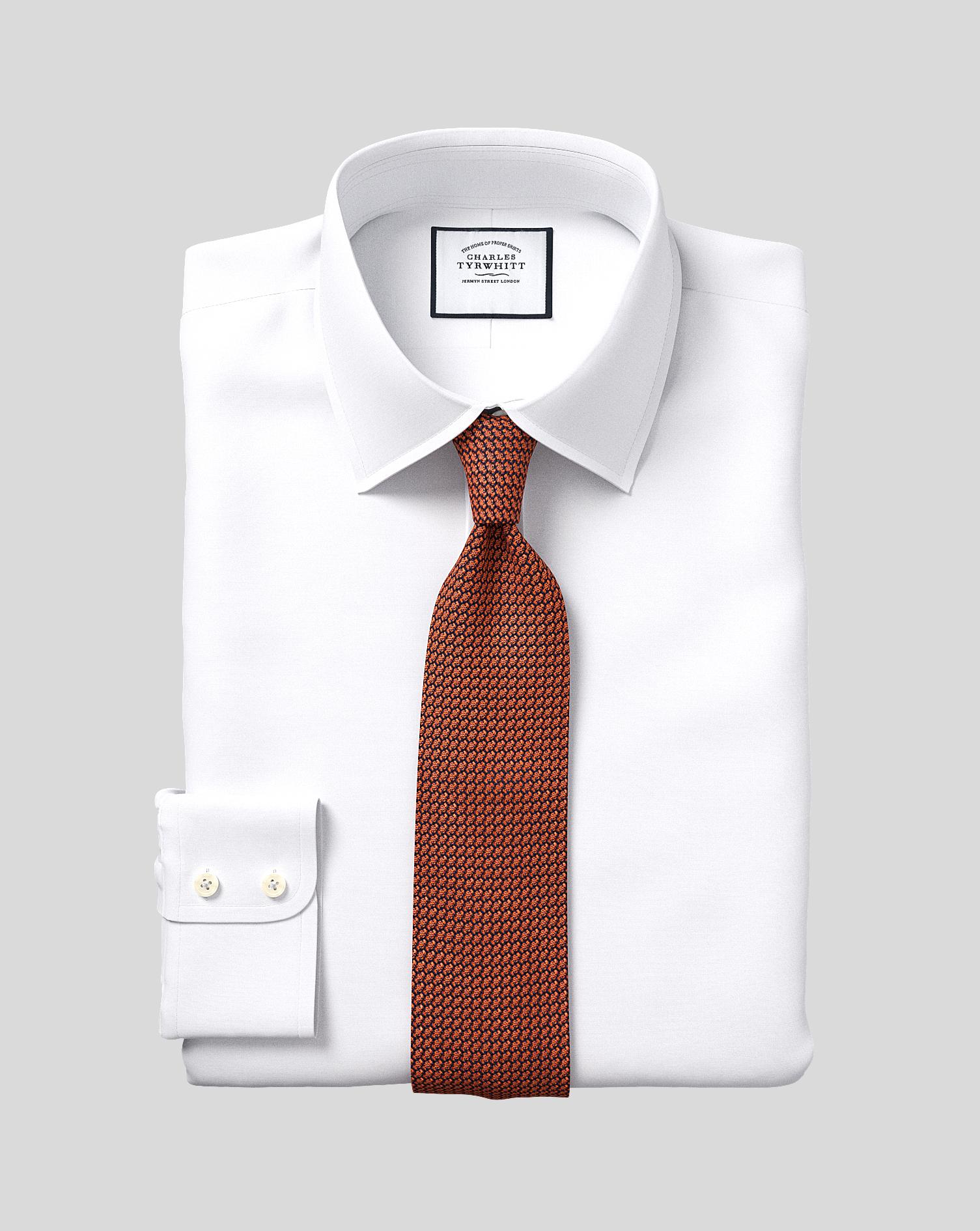 Slim fit egyptian cotton poplin white shirt charles tyrwhitt for Slim fit cotton shirts