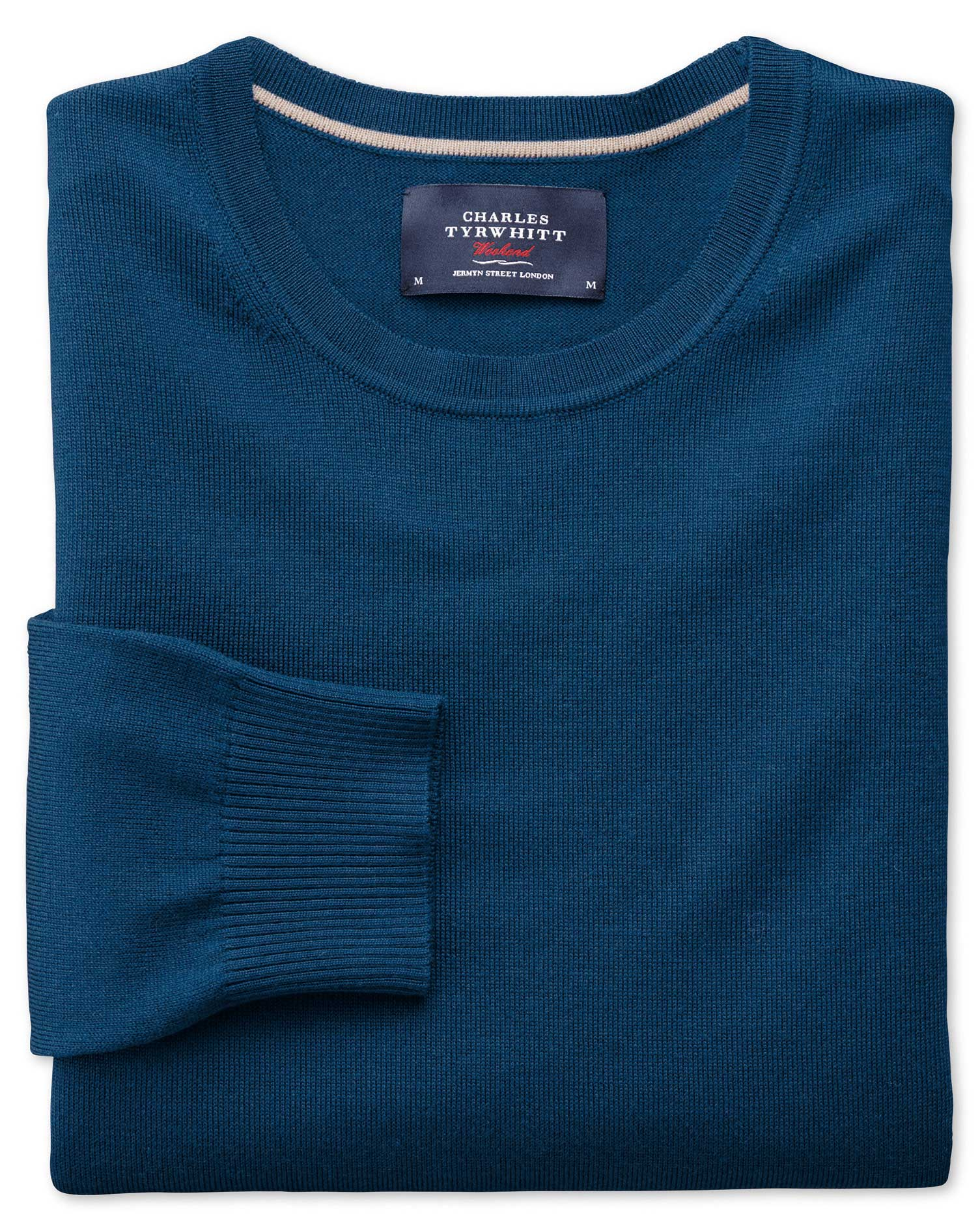 Blue Merino Wool Crew Neck Jumper Size XL by Charles Tyrwhitt
